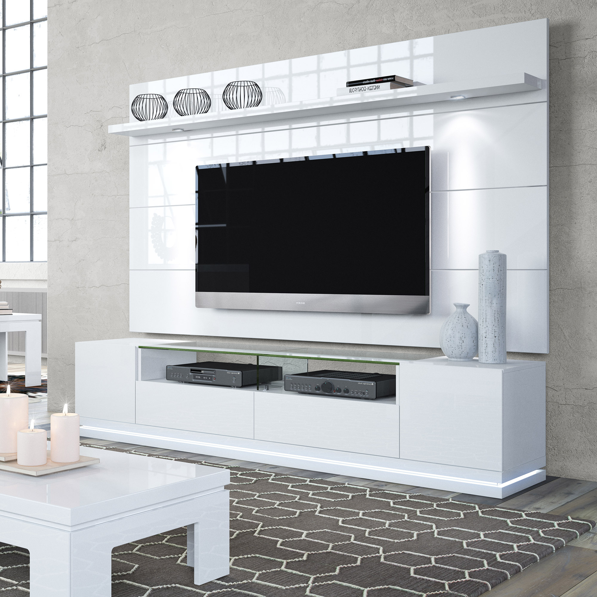 Newest White Gloss Tv Benches Pertaining To Vanderbilt White Gloss Tv Stand & Cabrini 2.2 Floating Wall Tv Panel (Gallery 14 of 20)