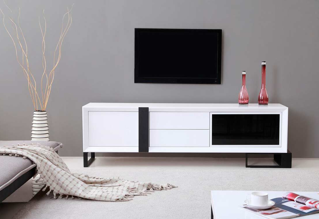 Newest White Tv Stands For Flat Screens Throughout Extra Long Modern White Tv Stand Bm  (View 10 of 20)
