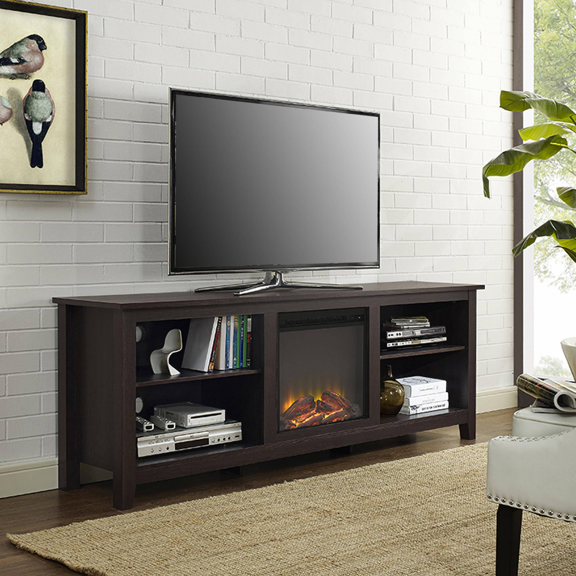 "Newest Wood Tv Entertainment Stands For 70"" Fireplace Tv Media Storage Stand For Tv's Up To 75"" Espresso (Gallery 3 of 20)"