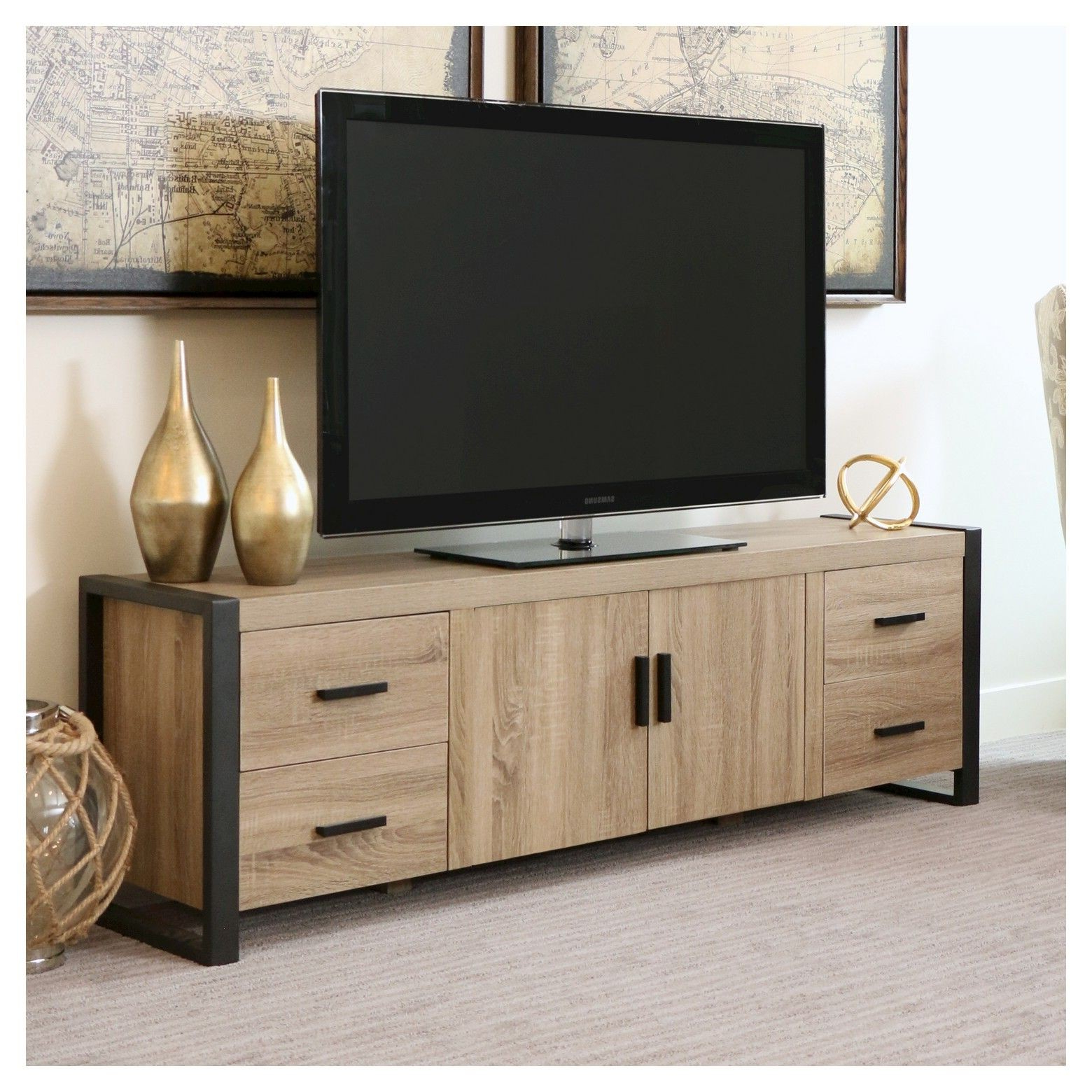 Newest Wood Tv Stands Solid Oak Entertainment Center With Doors Very Low Within Low Oak Tv Stands (View 5 of 20)