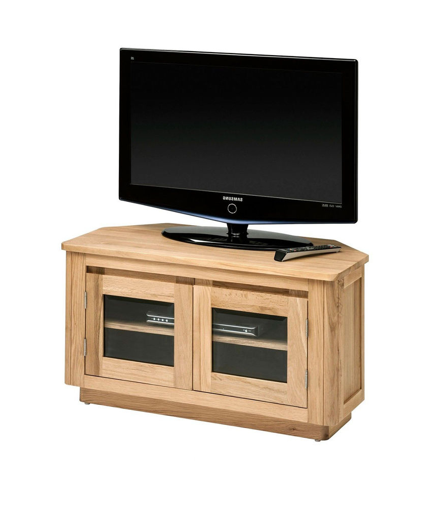 Newham Solid Oak Corner Tv Unit / Oak Tv Cabinet / Light Oak Tv Within Trendy Light Oak Tv Cabinets (Gallery 18 of 20)