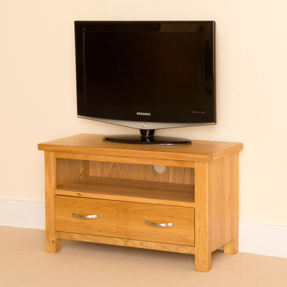 Newlyn Oak Small Tv Stand / Light Oak Tv Unit / Handcrafted Oak Tv Intended For 2018 Light Oak Tv Cabinets (Gallery 14 of 20)