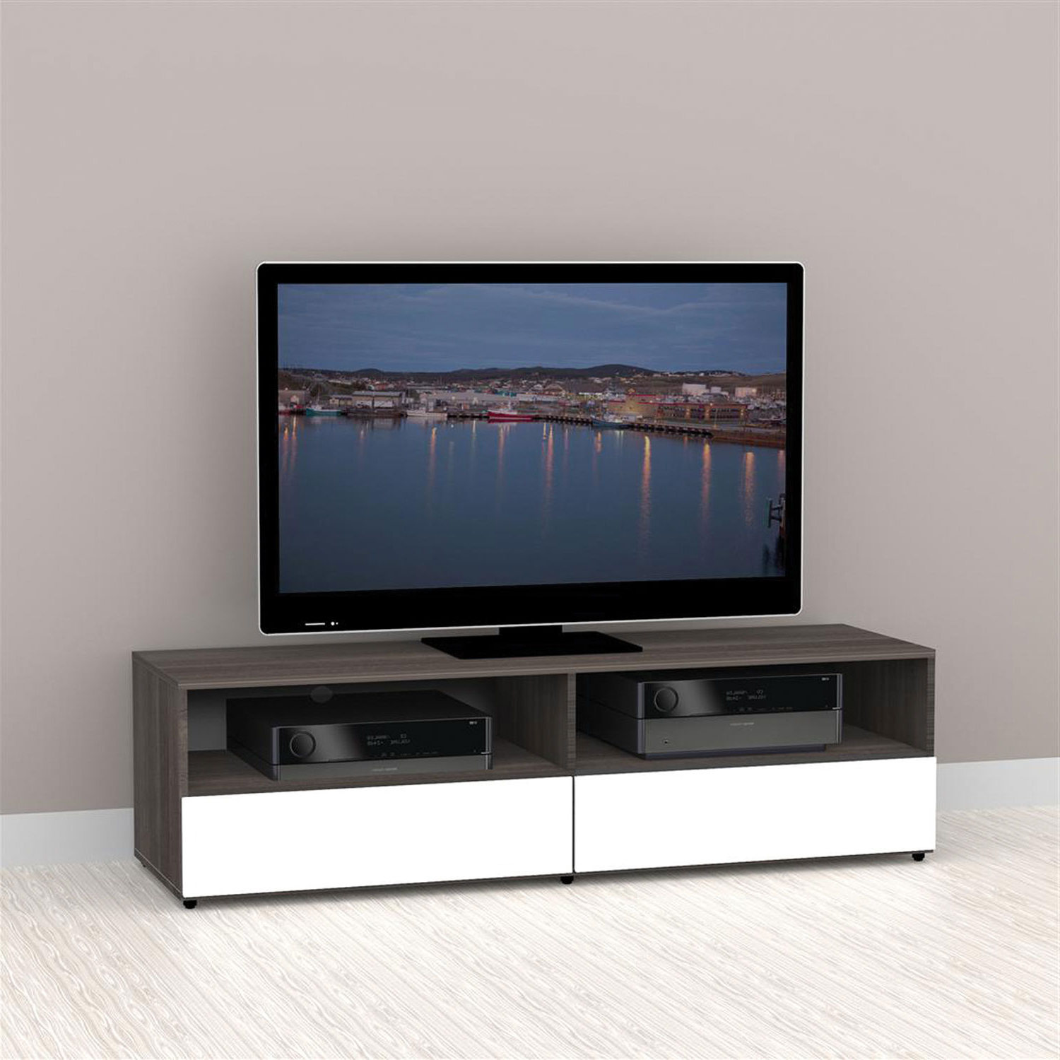 "Nexera Allure Tv Stand For Tvs Up To 64"" – White/ebony : Tv Stands In Most Popular Nexera Tv Stands (View 10 of 20)"