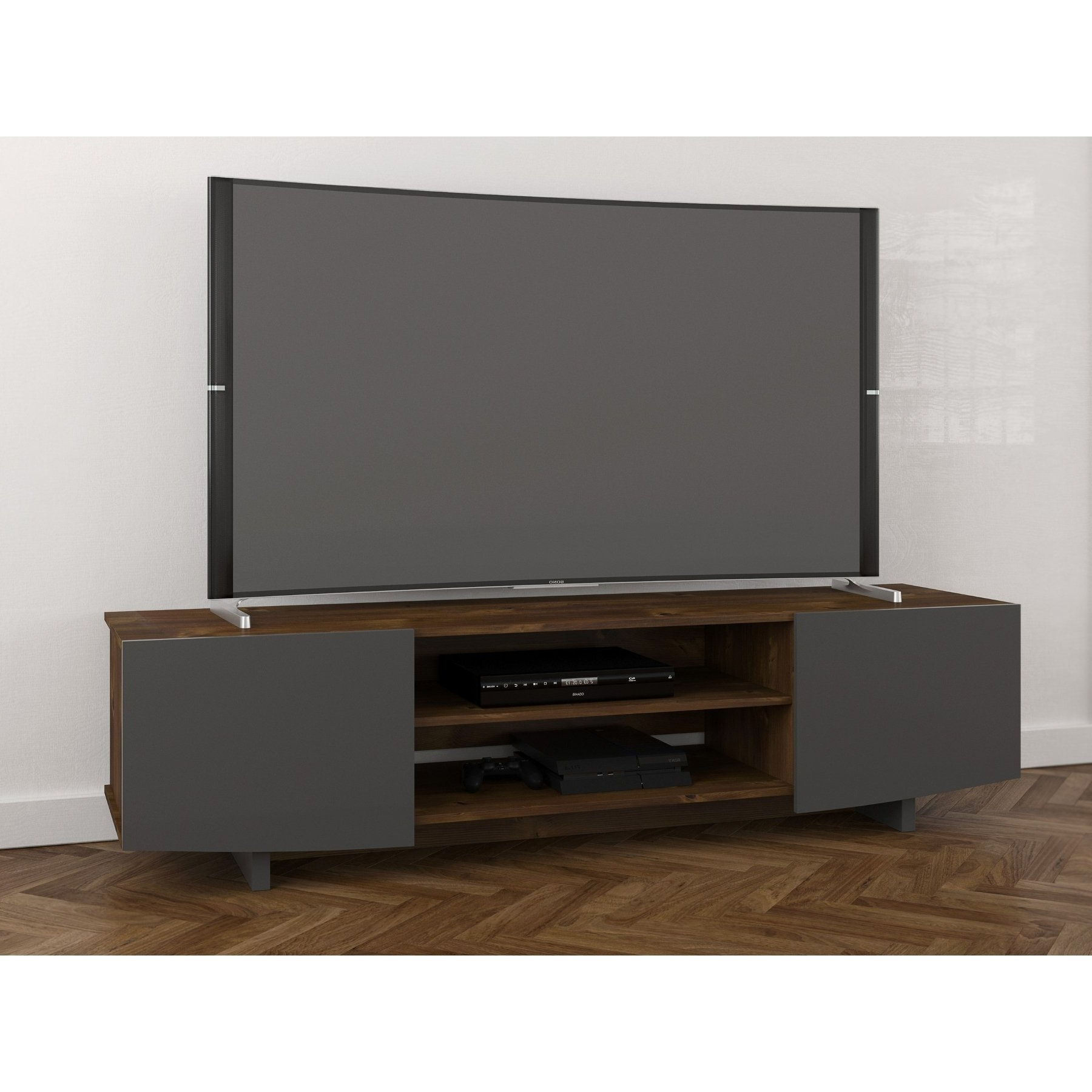 Nexera Helix Tv Stand, Truffle And Charcoal Grey (Gallery 12 of 20)