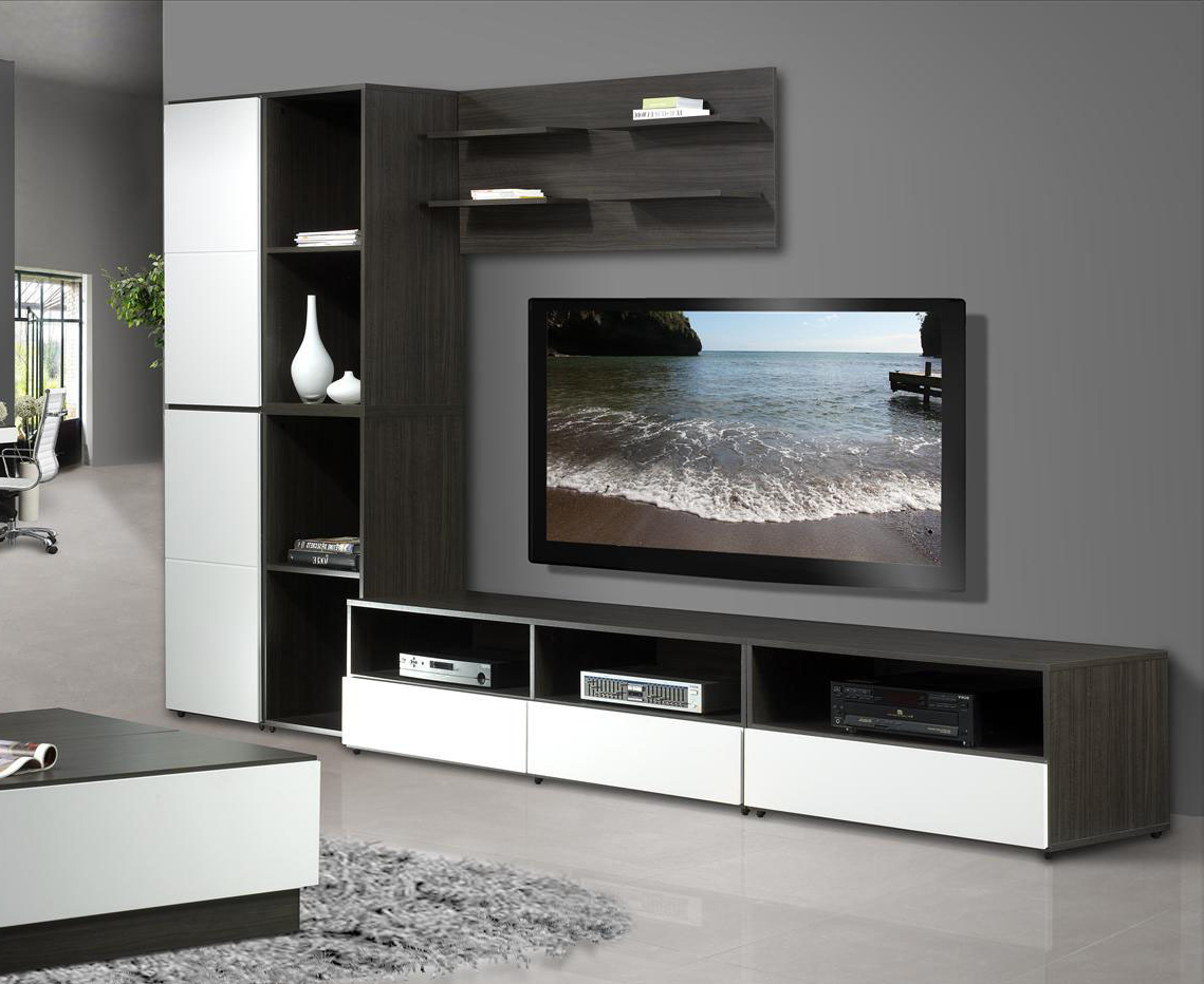 Nexera Tv Stands Intended For Fashionable Nexera Allure 60 In Tv Stand N 220133, Grey Walls White Shelves (View 13 of 20)