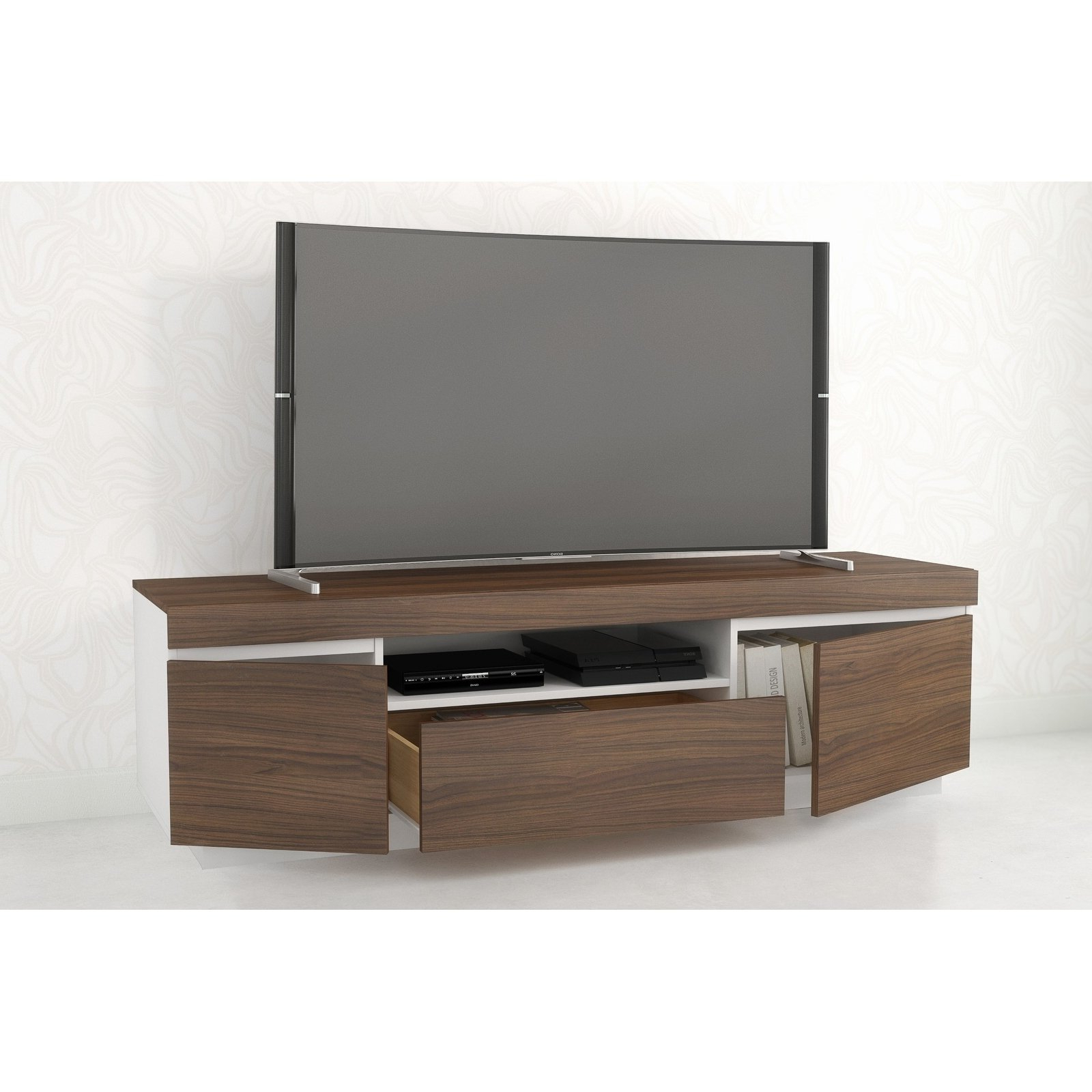 Nexera Tv Stands With Regard To Most Up To Date Shop Nexera Cali Tv Stand, Walnut And White – Free Shipping Today (View 15 of 20)