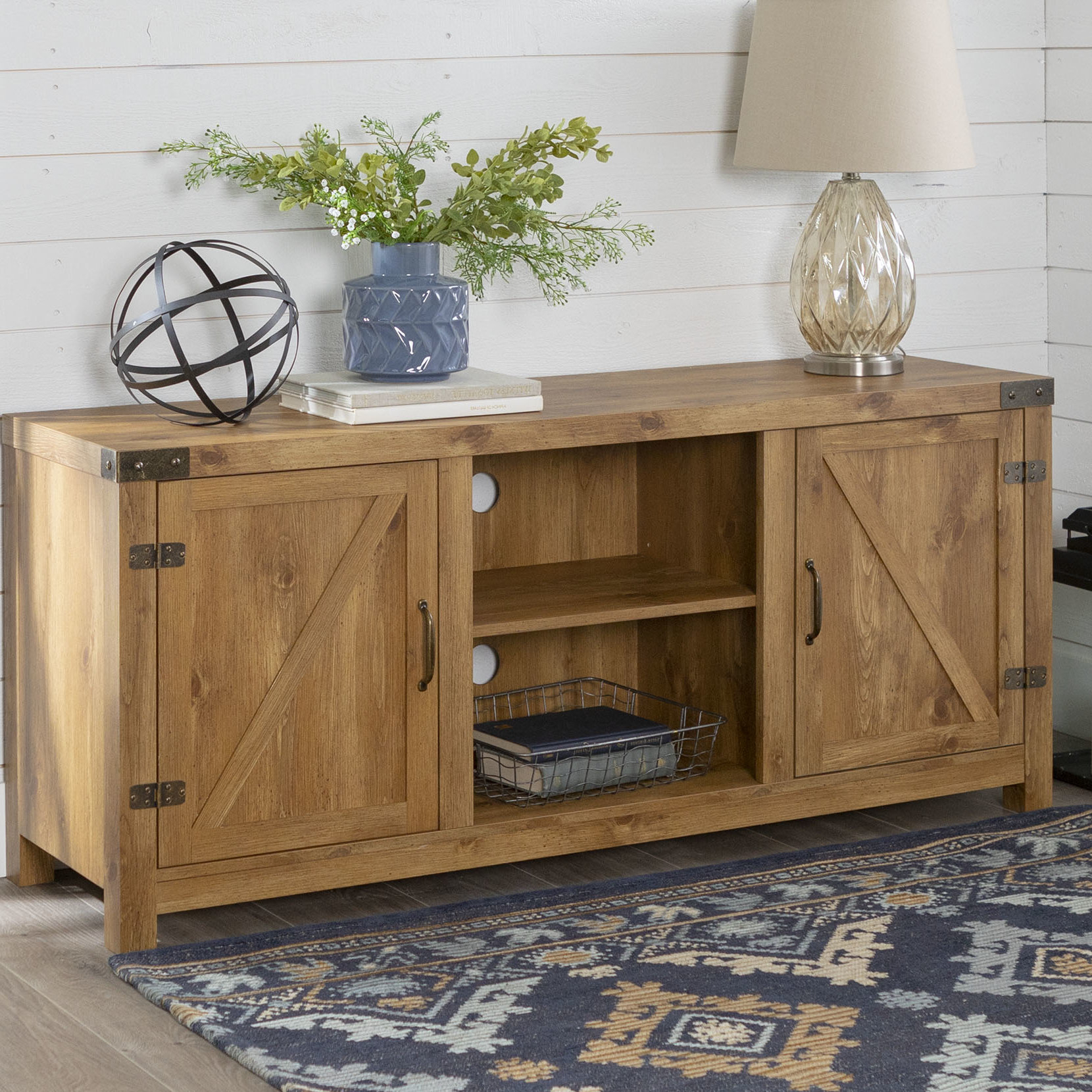 Oak & Brass Stacking Media Console Tables For Fashionable Tv Stand And Coffee Table Set (View 11 of 20)