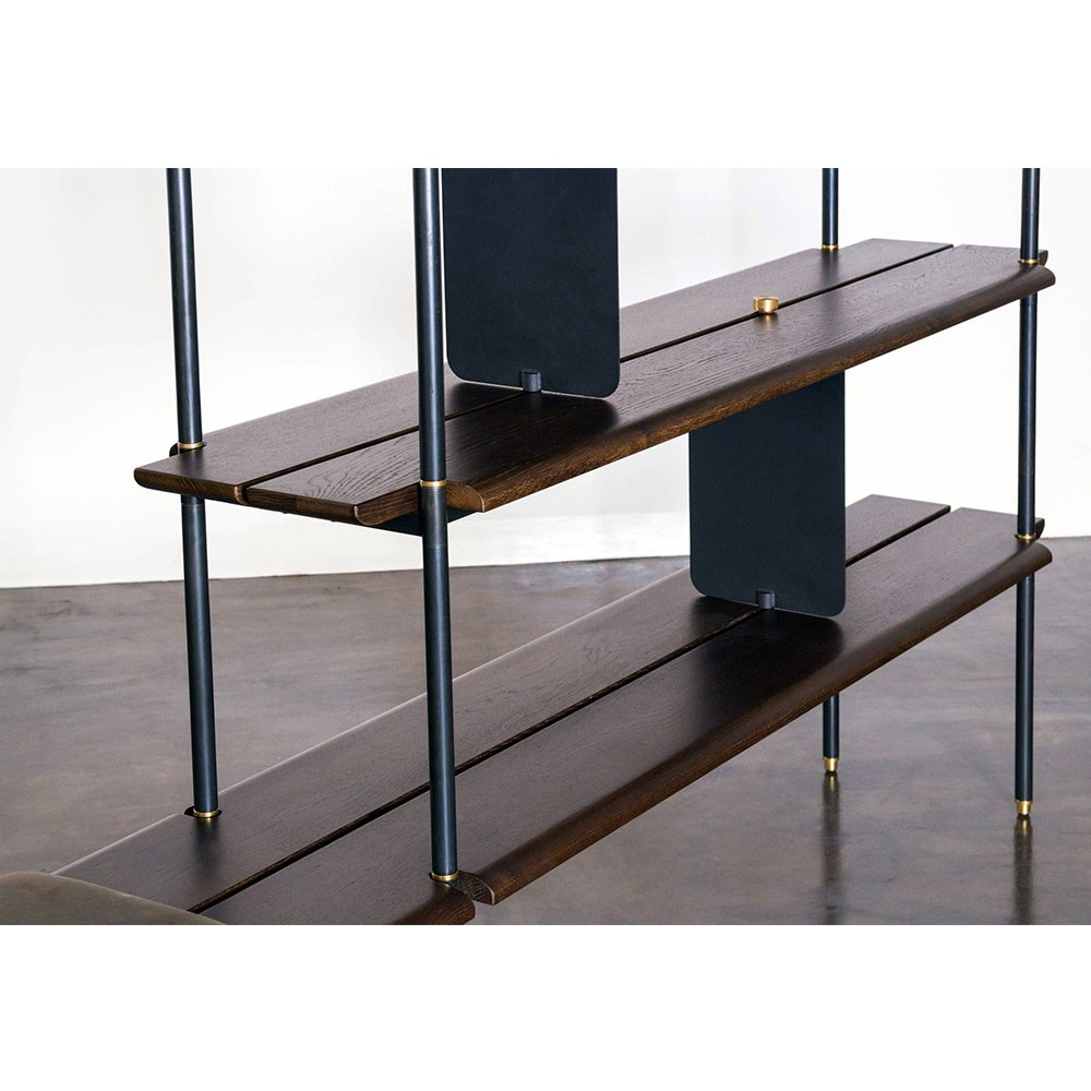 Oak & Brass Stacking Media Console Tables For Widely Used Stacking Bench – Smoked Oak (View 12 of 20)