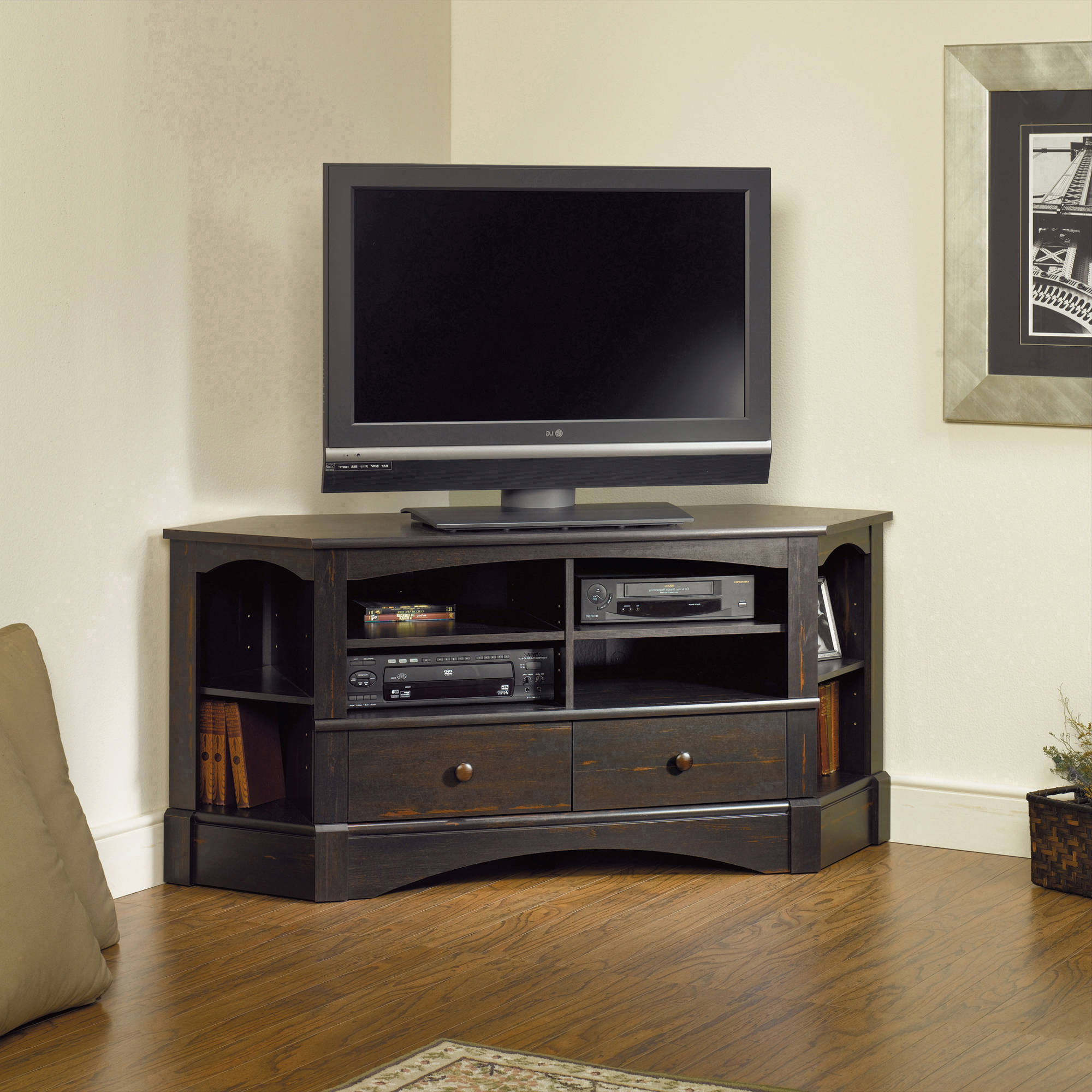 Oak Corner Tv Stand For 50 Inch Walmart Cabinet 60 Hooker Black Inside Well Known Corner Tv Stands For 60 Inch Tv (View 16 of 20)