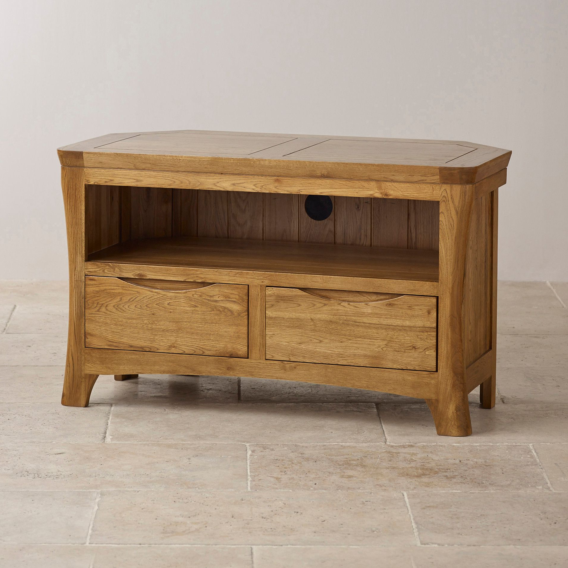 Oak Corner Tv Stands Within Best And Newest Orrick Rustic Solid Oak Corner Tv Cabinet (View 14 of 20)
