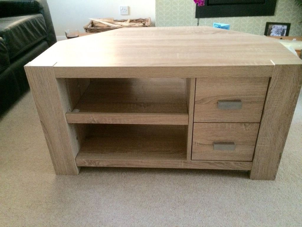 Oak Effect Corner Tv Stand Pertaining To Most Current Next Corsica Corner Tv Unit, Natural Light Oak Effect Finish (Gallery 1 of 20)