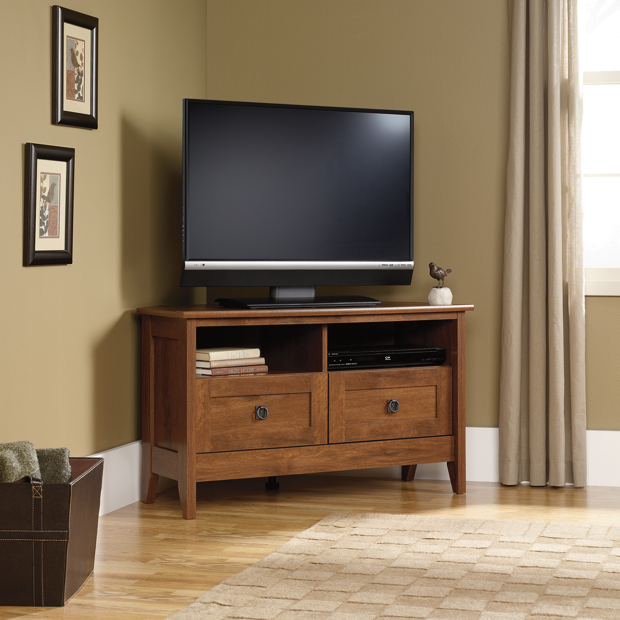 Oak Finish Corner Tv Stand In Well Liked Dark Wood Tv Cabinets (View 13 of 20)