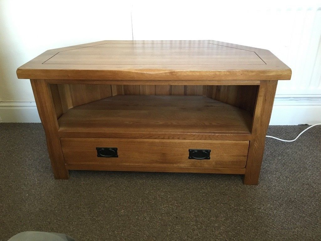 Oak Furniture Land – Original Rustic Solid Oak Corner Tv Cabinet Within Recent Rustic Corner Tv Cabinets (View 9 of 20)