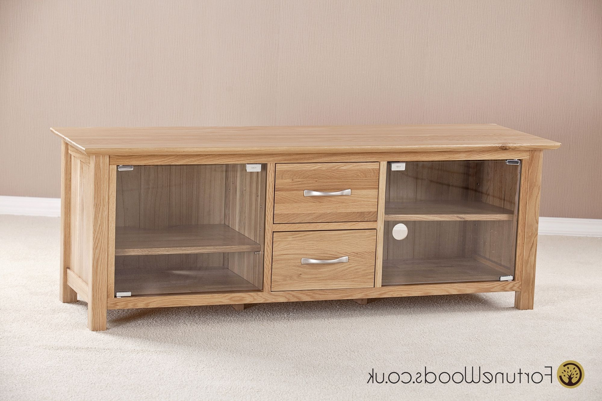 Oak Tv Cabinet With Glass Doors (View 9 of 20)