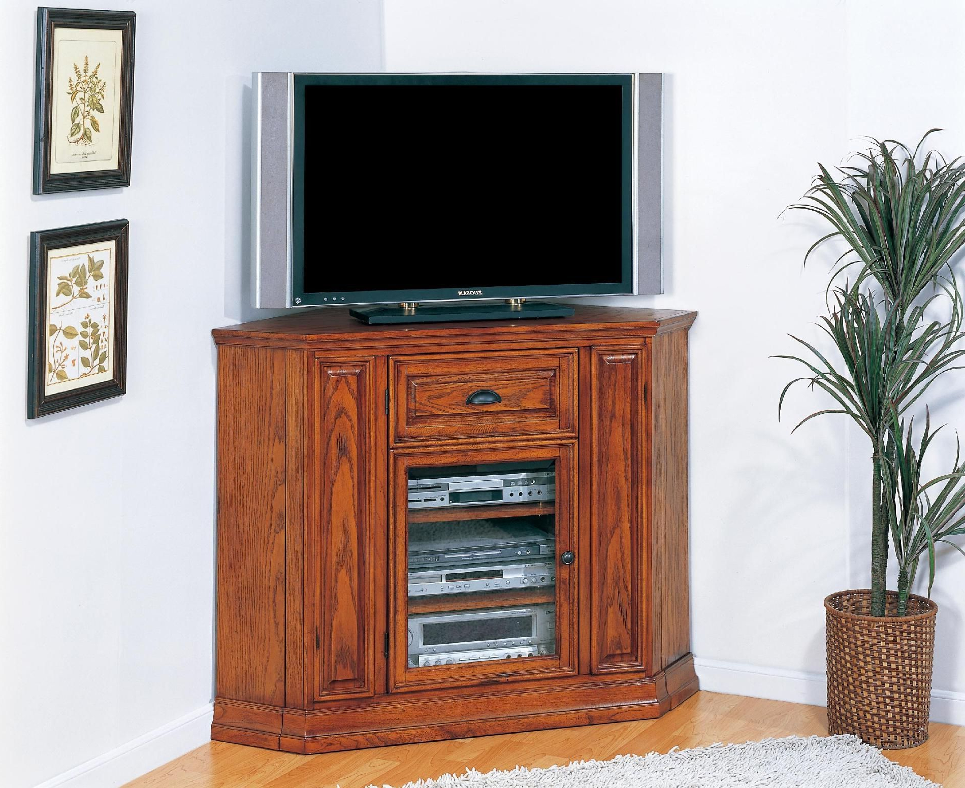 Oak Tv Cabinets For Flat Screens With Doors For 2018 Tall Corner Tv Cabinet With Doors (View 5 of 20)