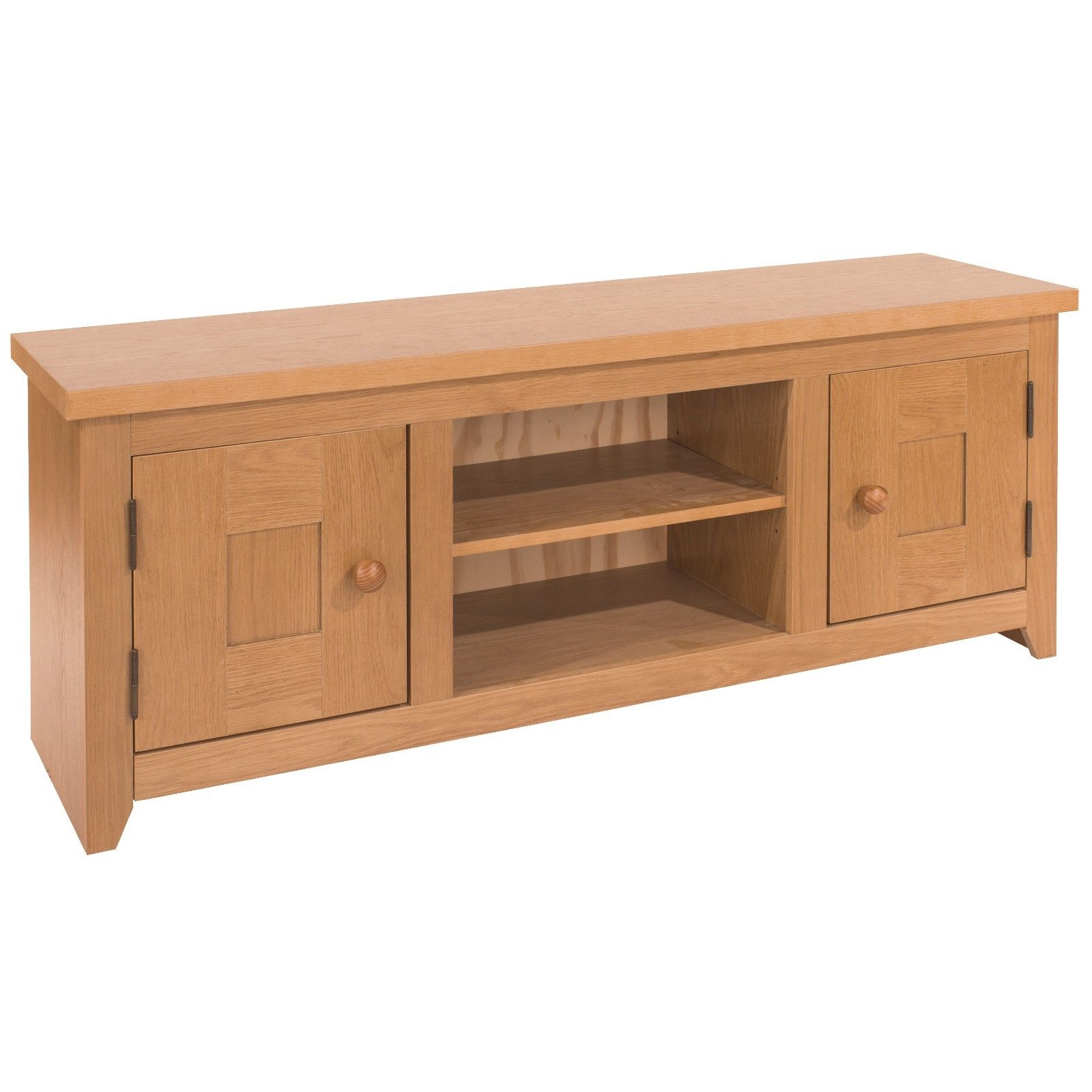 Oak Tv Cabinets For Flat Screens With Doors Pertaining To Favorite Hamilton Oak Ash Vaneer Flat Screen Tv Unit With 2 Doors And Shelf (Gallery 15 of 20)