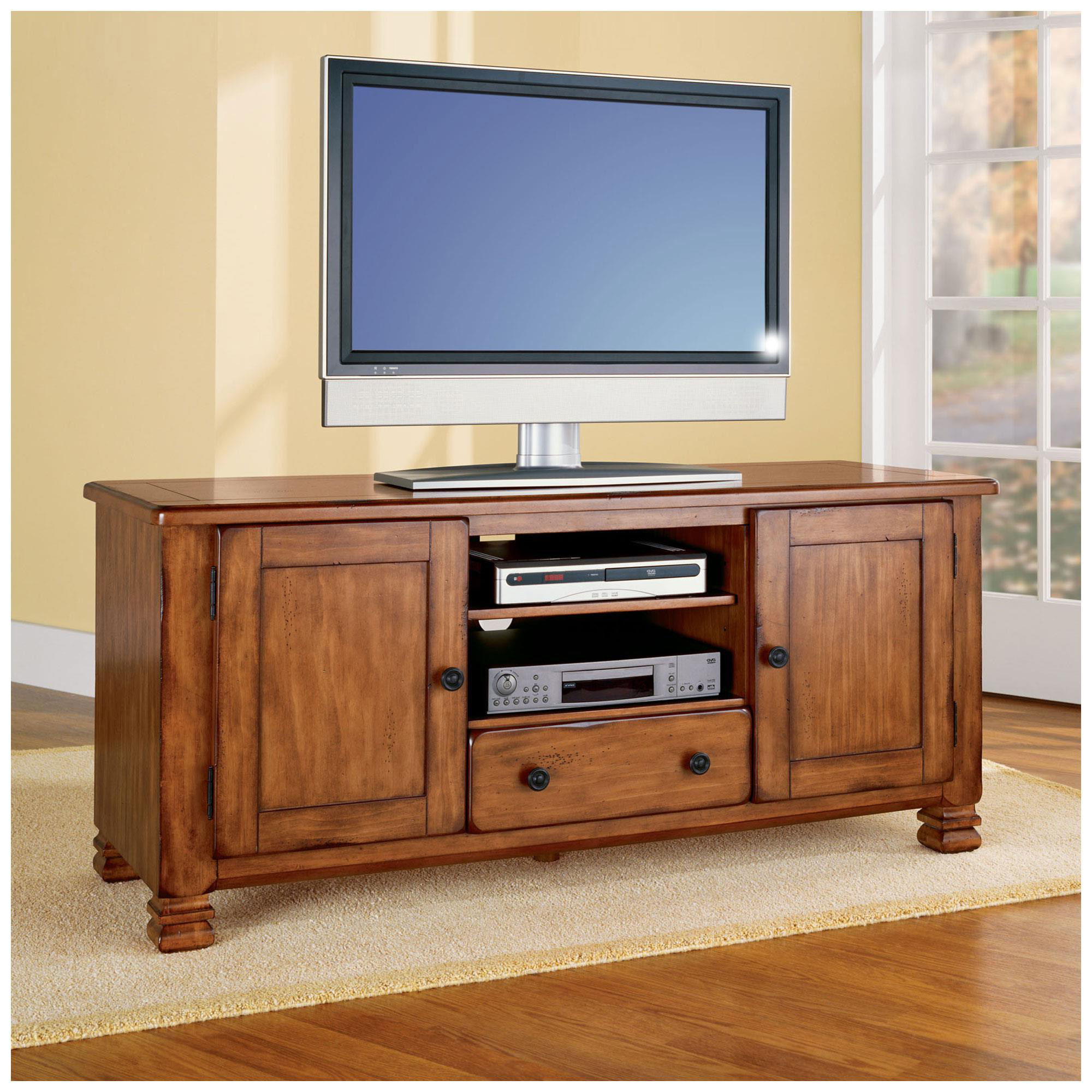 Oak Tv Stand Walmart Solid Wood Stands For Flat Screens Light Regarding Widely Used Oak Tv Cabinets For Flat Screens With Doors (View 6 of 20)