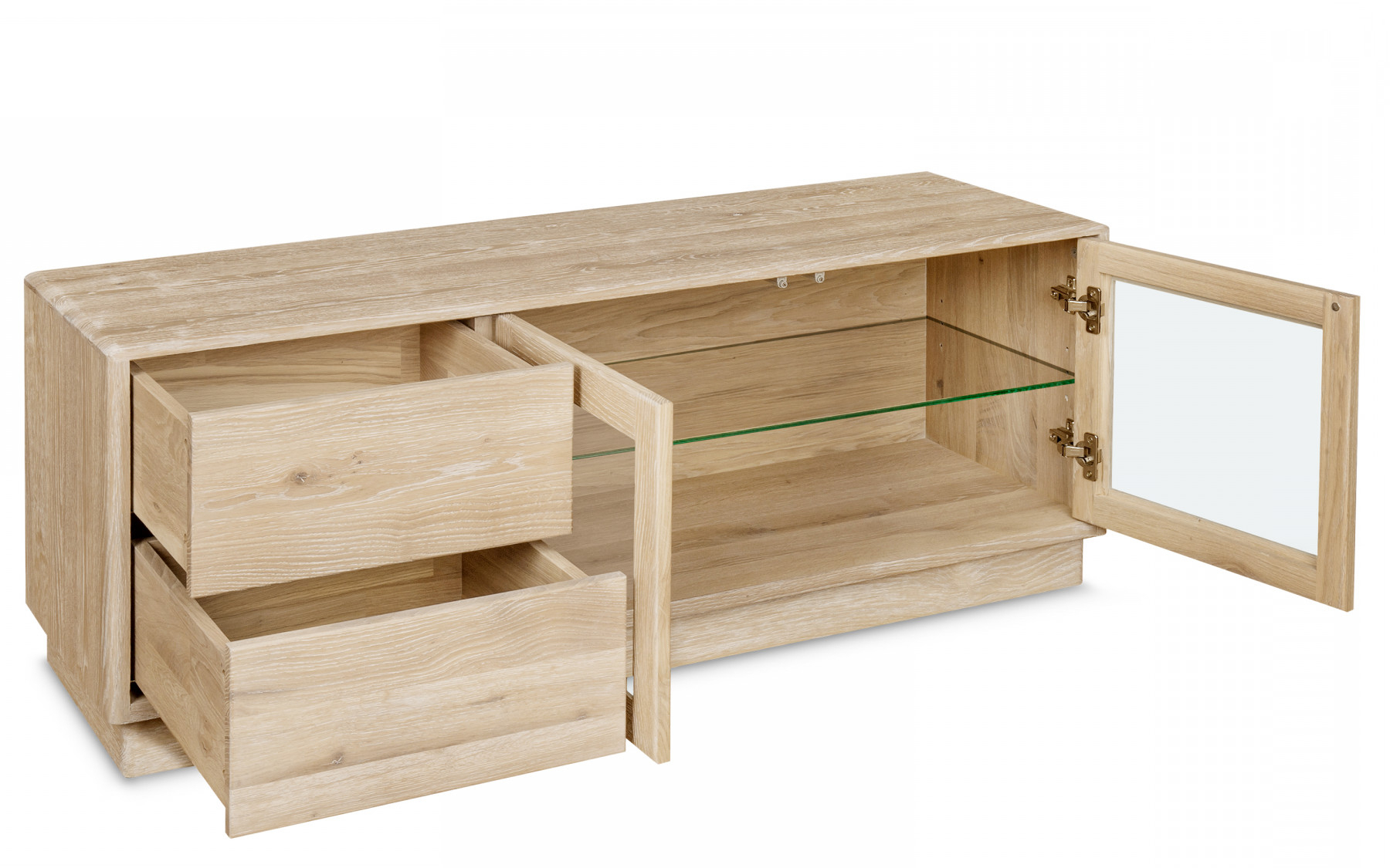 Oak Tv Stands With Glass Doors Intended For Well Liked Portofino Tv Stand (View 12 of 20)