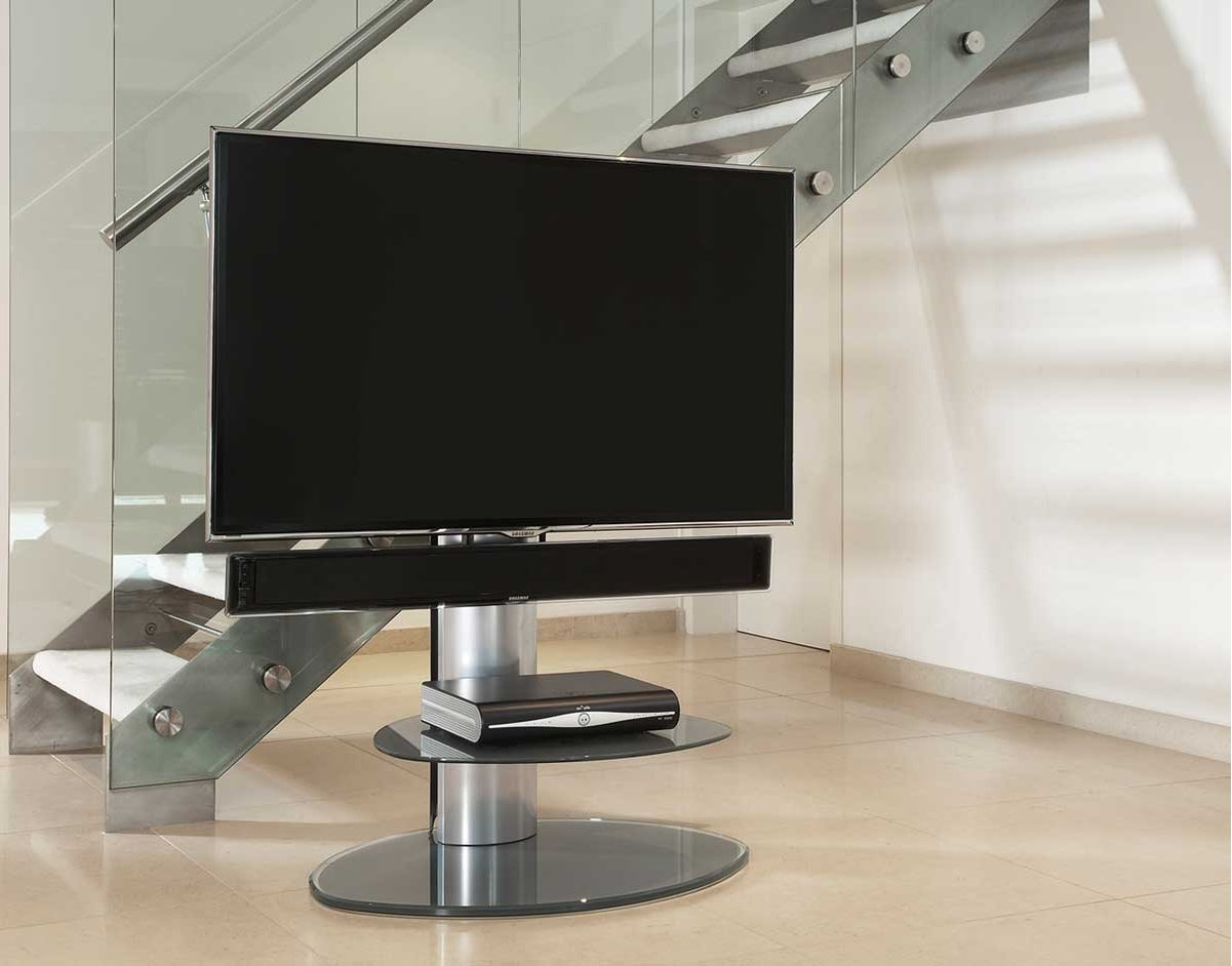 Off The Wall Motion Silver Cantilever Tv Stand Within 2017 Off Wall Tv Stands (Gallery 1 of 20)