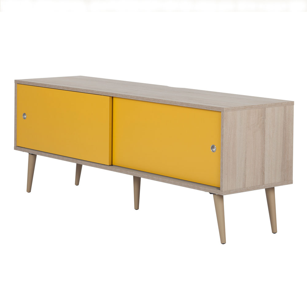 Off The Wall Retro 1400 Oak W/ Yellow Door Tv Stand – Glass Tv Regarding Well Liked Yellow Tv Stands (View 11 of 20)