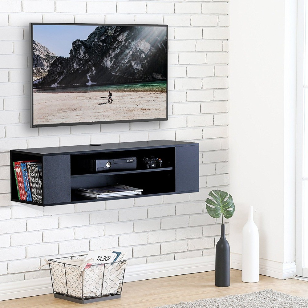 Off The Wall Tv Stands Throughout Preferred Floating Tv Stand Wall Mount Cabinet Media Console Entertainment (Gallery 18 of 20)