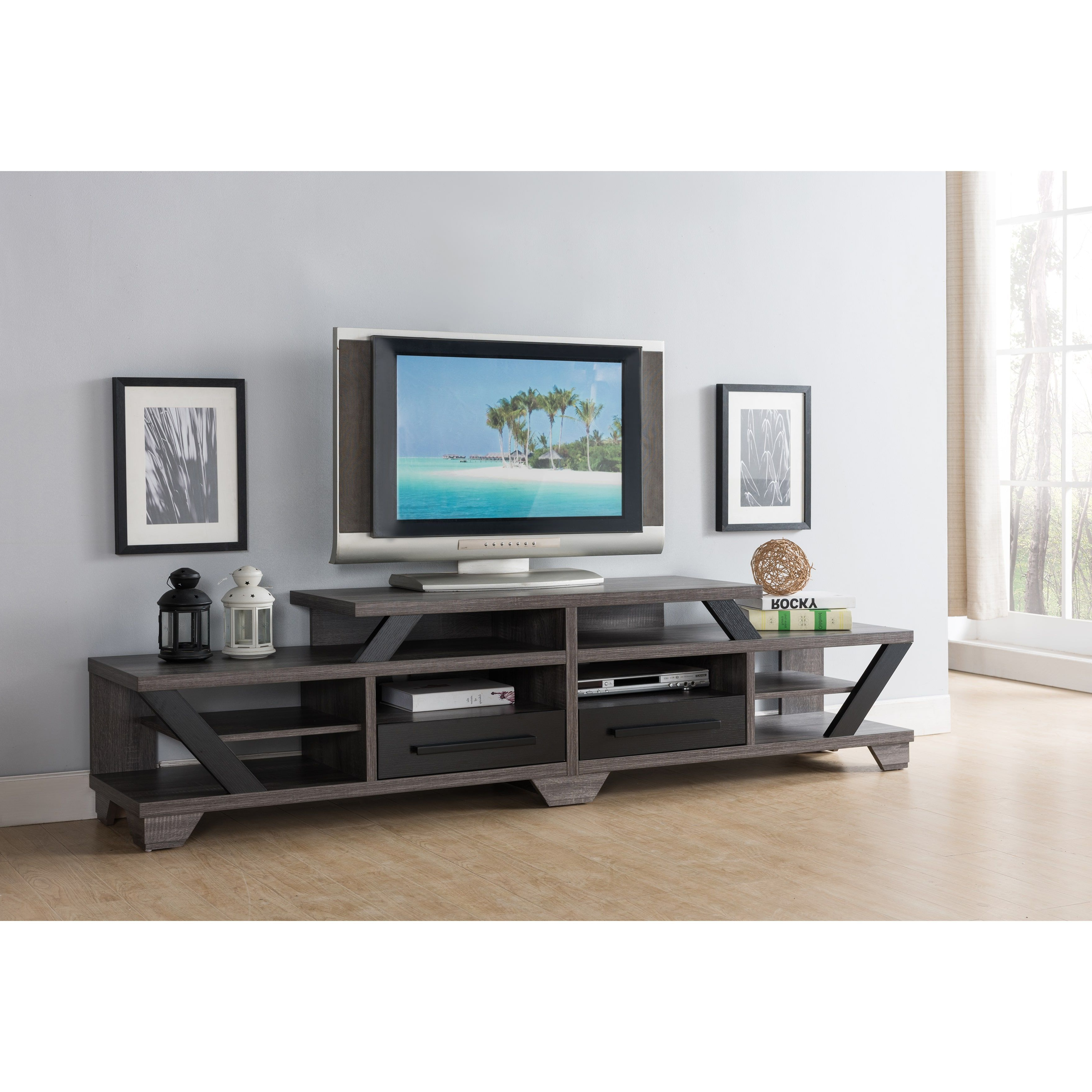 Open Shelf Tv Stands Intended For Preferred Furniture Of America Mezu Contemporary Two Tone Distressed Grey (Gallery 14 of 20)