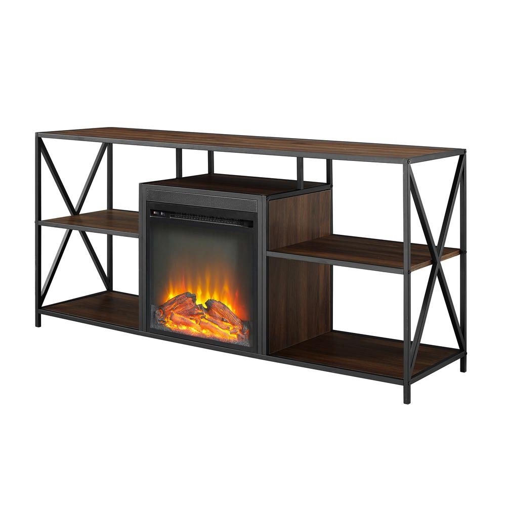 "Open Shelf Tv Stands Regarding Most Recently Released 60"" Urban Industrial X Frame Open Shelf Fireplace Tv Stand Storage (Gallery 5 of 20)"