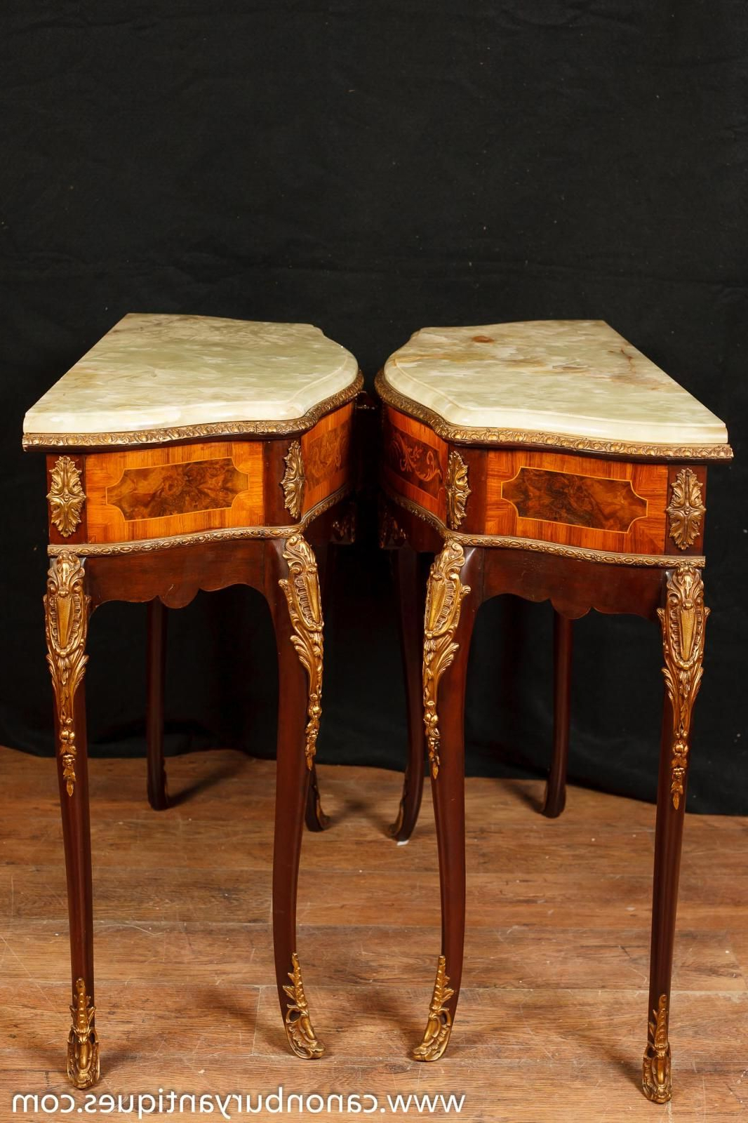 Orange Inlay Console Tables Inside Recent Pair Of Antique French Napoleon Ii Side Console Tables With Onyx Top (View 12 of 20)