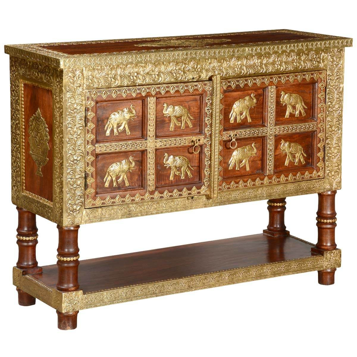 Orange Inlay Console Tables Within Well Liked 8 Golden Elephants Mango Wood & Brass Inlay Console Table Chest (View 15 of 20)