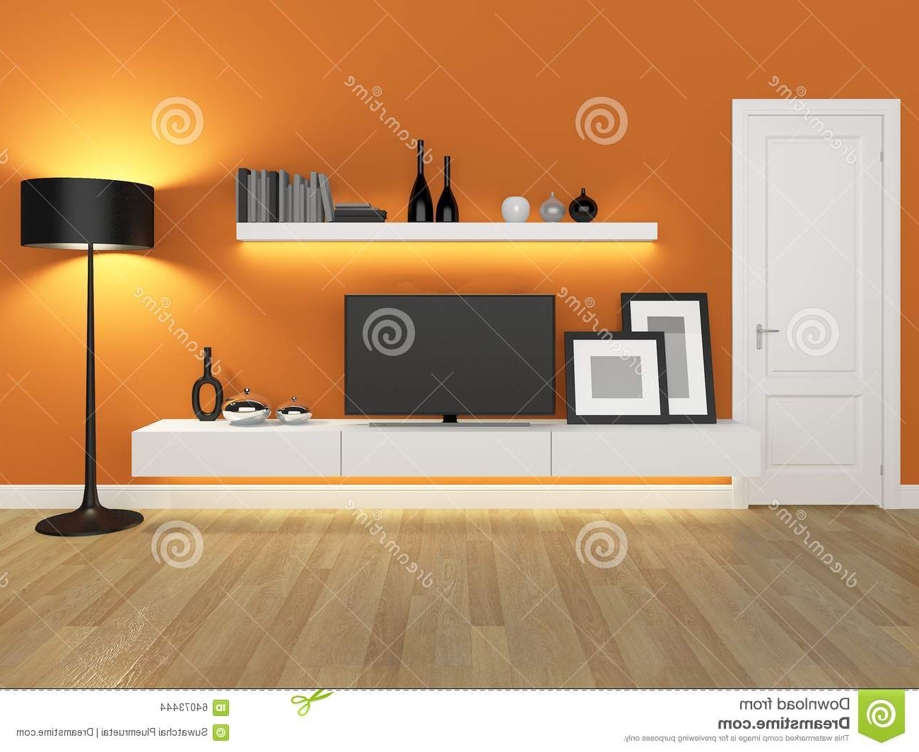 Orange Tv Stands Throughout 2017 Orange Living Room With Tv Stand And Bookcase Stock Illustration (View 13 of 20)