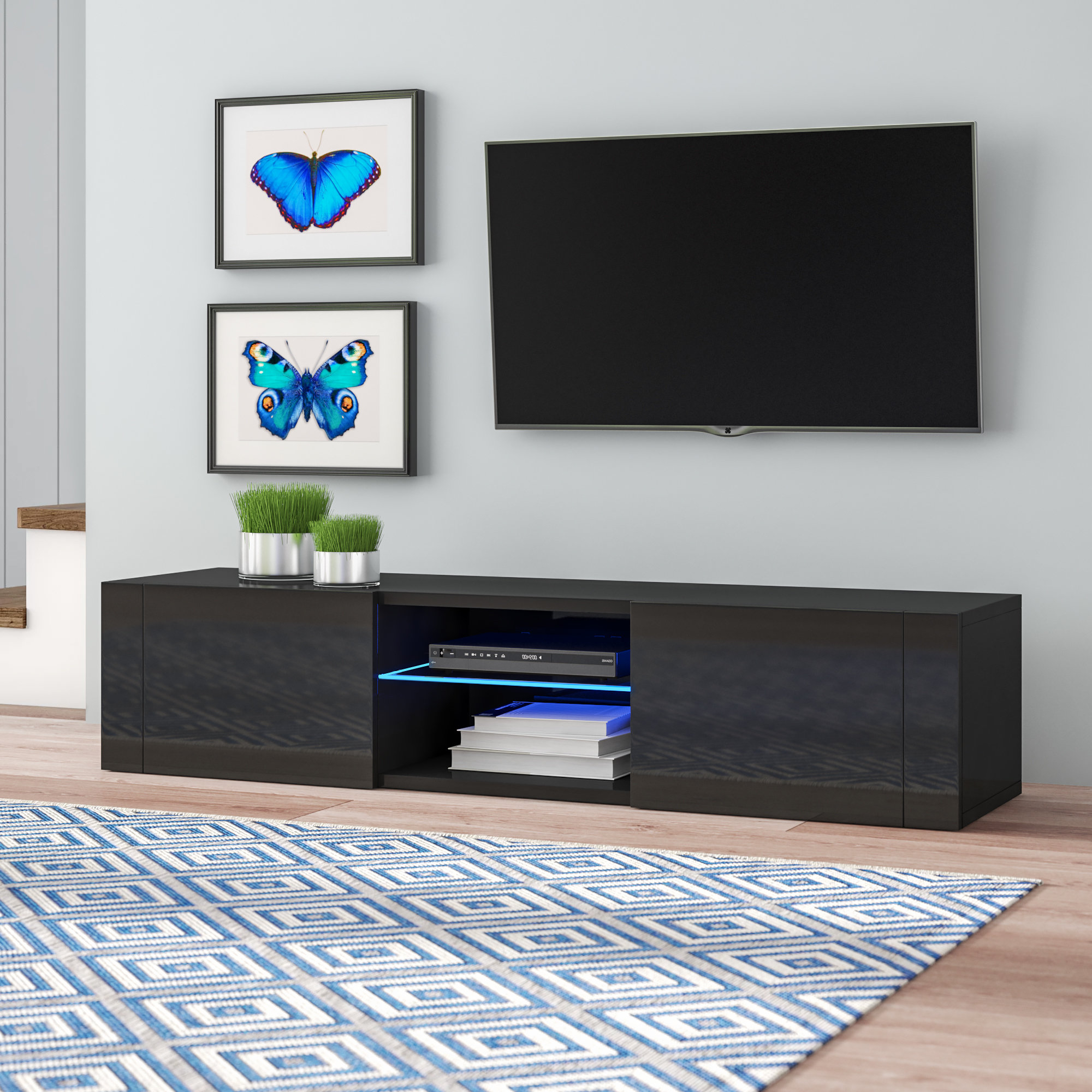 """Orren Ellis Batley Tv Stand For Tvs Up To 55"""" With Led Lighting In Newest Tv Stands With Led Lights (View 9 of 20)"""