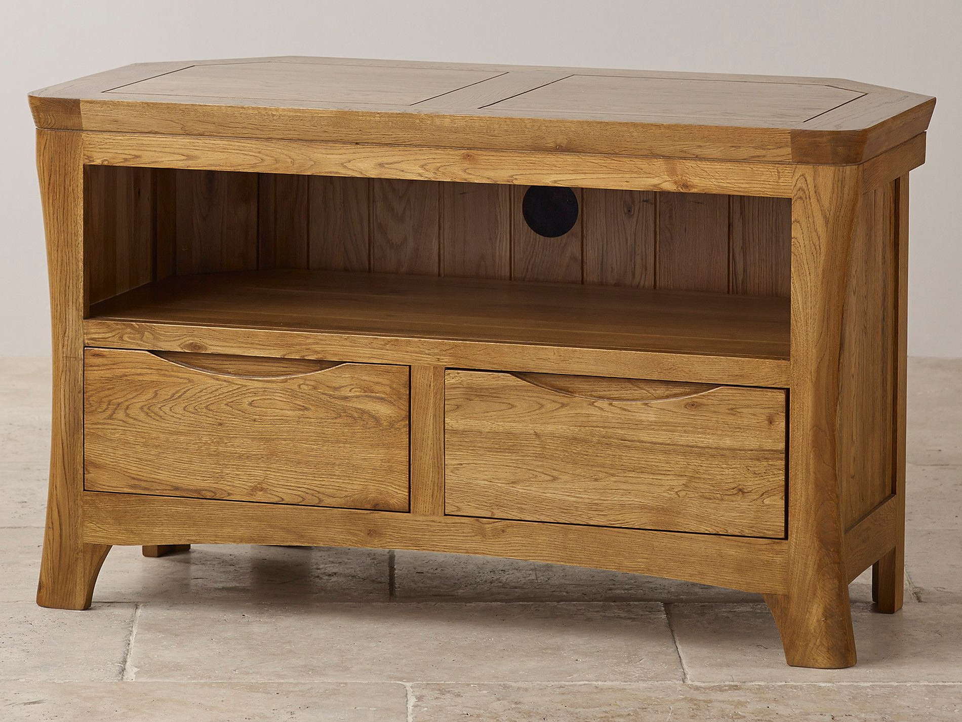 Orrick Rustic Solid Oak Corner Tv + Dvd Cabinet (View 9 of 20)