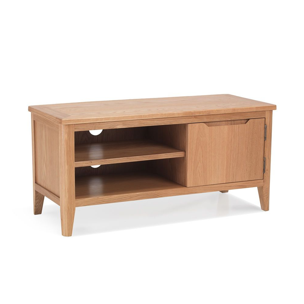 Oslo – Small Oak Tv Dvd Stand / 1 Door 2 Shelf Tv Unit In Home In Well Known Small Oak Tv Cabinets (View 17 of 20)