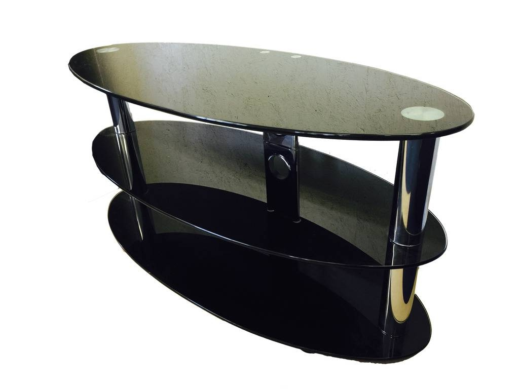 Oval Black Glass And Chrome 3 Tier Tv Stand Table (Gallery 1 of 20)