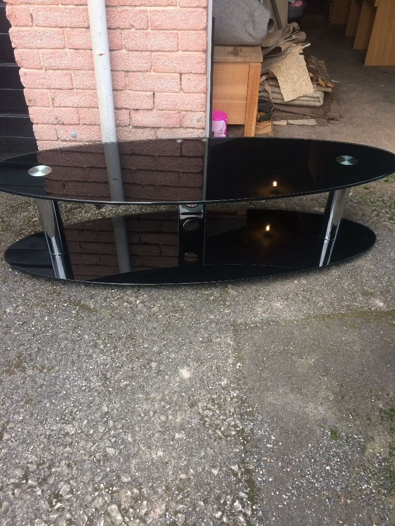 Oval Glass Tv Stands For Trendy Large Oval Black Glass Tv Stand (View 6 of 20)