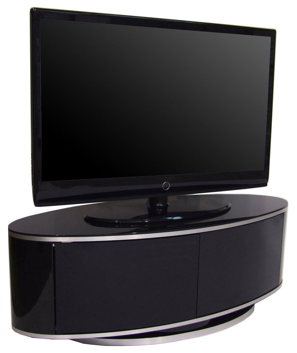 Oval White Tv Stands For Well Liked Mda Designs High Gloss Black Oval Tv Stand With Swivel Base And (Gallery 10 of 20)