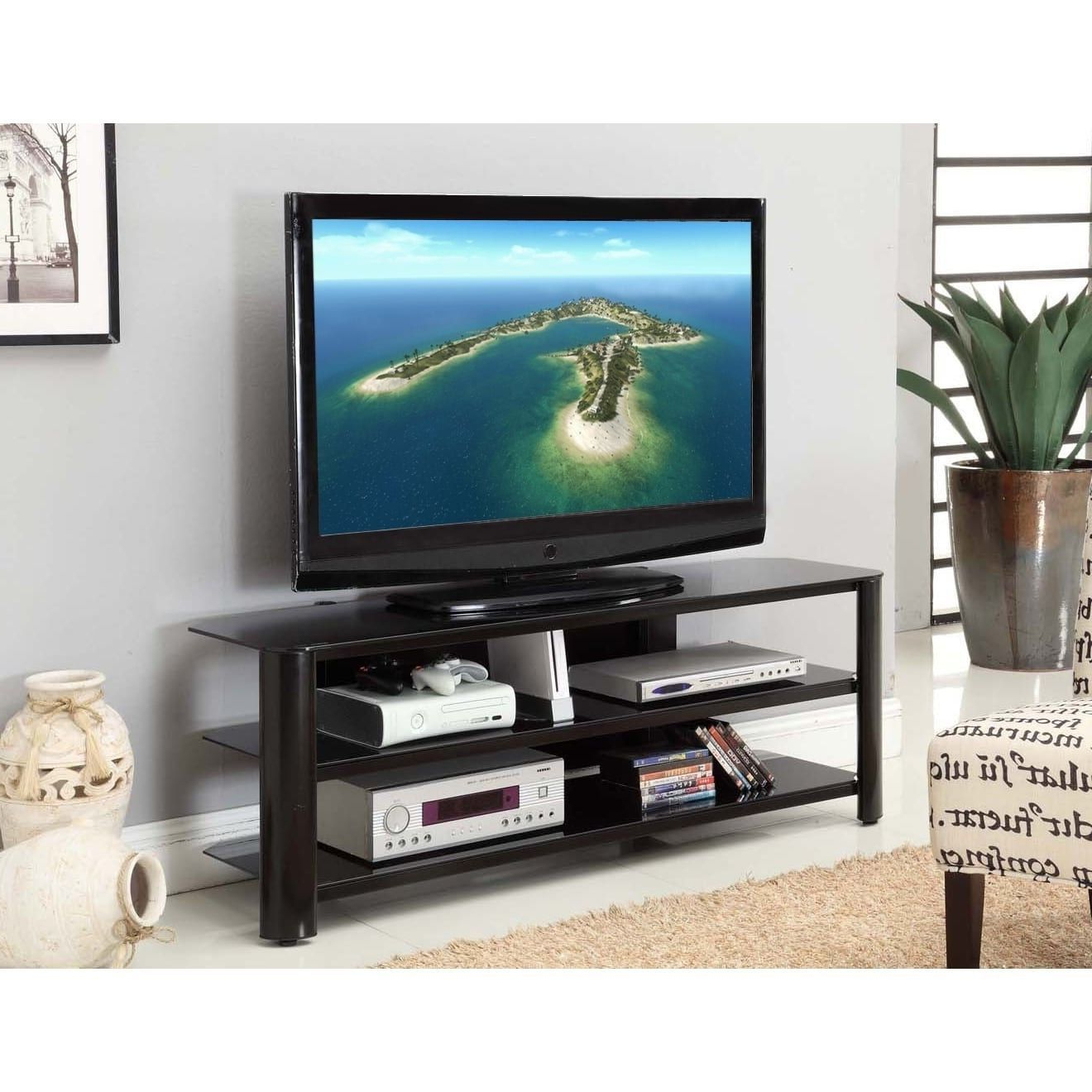 """Oxford 60 Inch Tv Stands Intended For Well Known Fold 'n' Snap Oxford Ez Black Innovex Tv Stand (20.9W X 73""""w X 18.3 (Gallery 3 of 20)"""