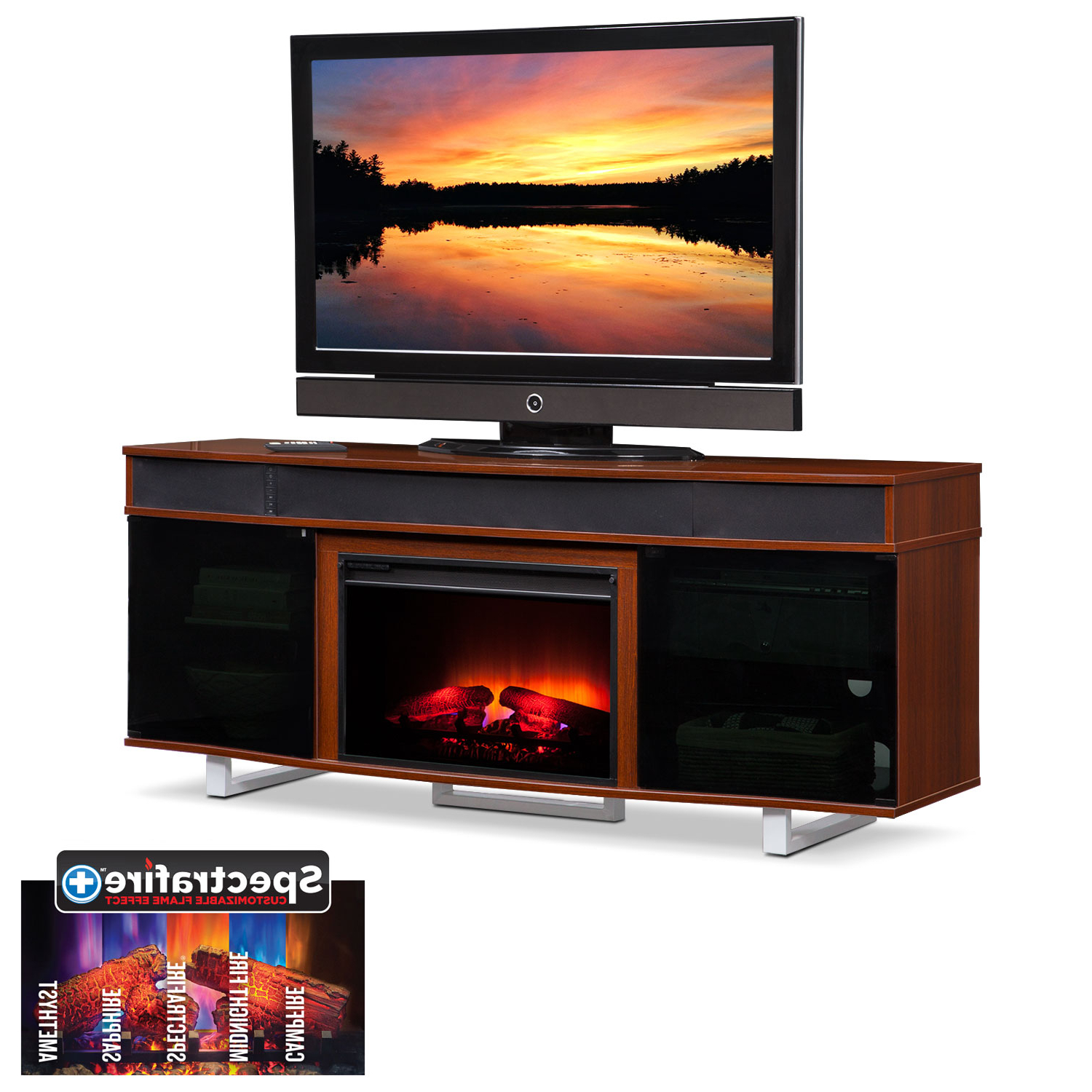 "Pacer 72"" Traditional Fireplace Tv Stand With Sound Bar – Cherry For Most Up To Date Light Cherry Tv Stands (View 11 of 20)"