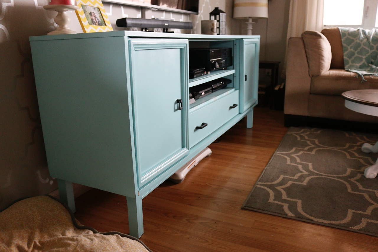 Painted Tv Stands For 2017 On A Cold Day: Retro Dresser Turned Spray Painted Tv Stand (View 13 of 20)