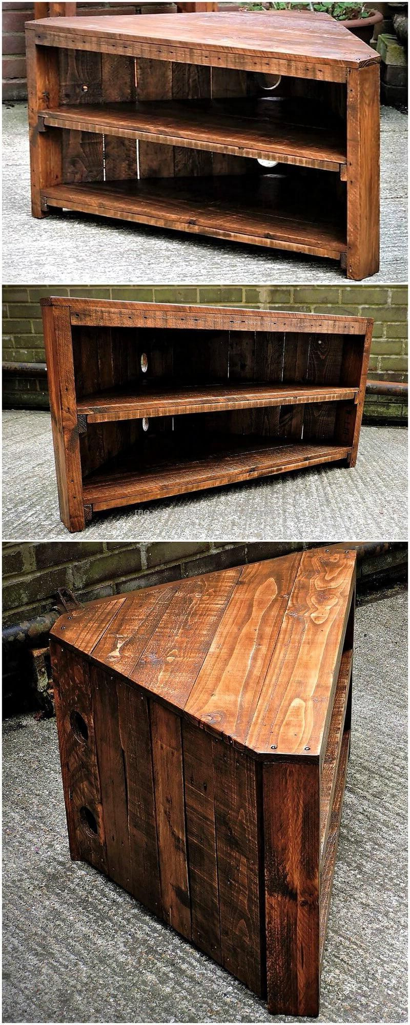 Pallets Wood Corner Tv Stand Is Another Appealing And Thought In Well Known Large Corner Tv Stands (Gallery 10 of 20)