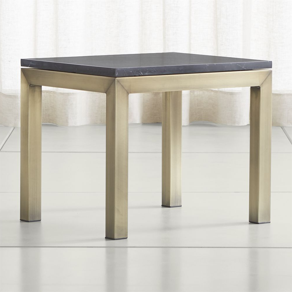 Parsons Black Marble Top/ Brass Base 20X24 End Table (Gallery 8 of 20)