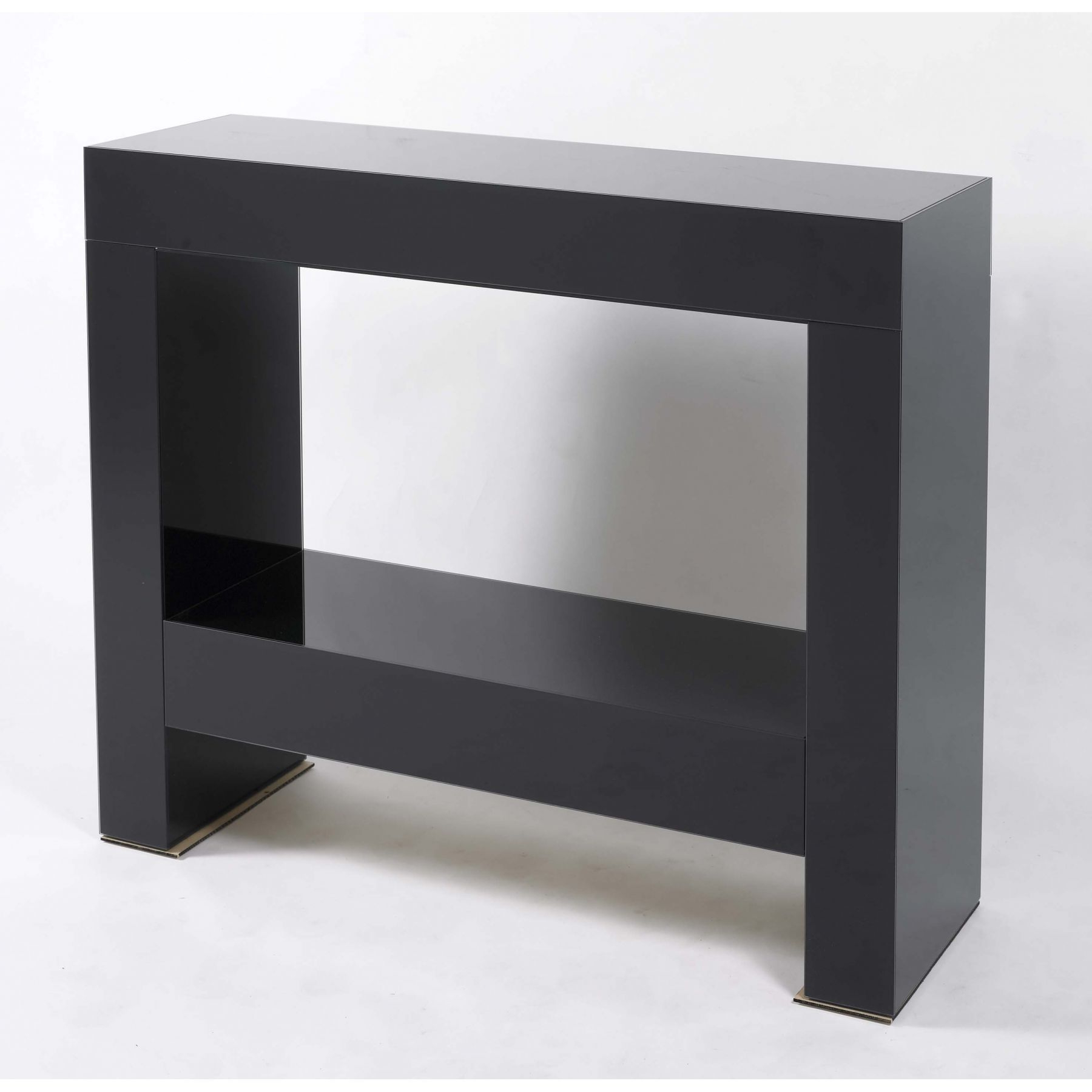 Parsons Clear Glass Top & Dark Steel Base 48x16 Console Tables With Regard To Popular Contemporary Black Parsons Console Table With Glossy Finish (View 9 of 20)