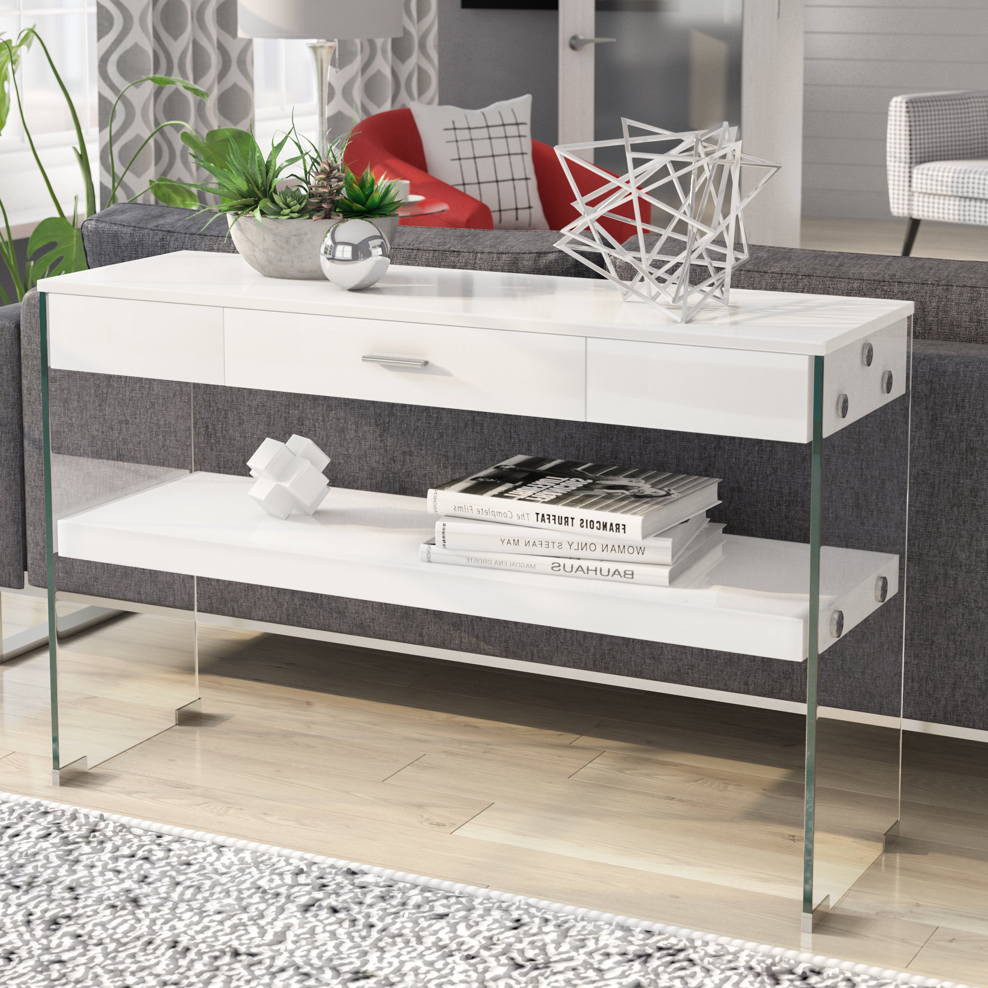 Parsons Clear Glass Top & Dark Steel Base 48x16 Console Tables With Regard To Preferred Industrial Console Tables You'll Love (View 18 of 20)