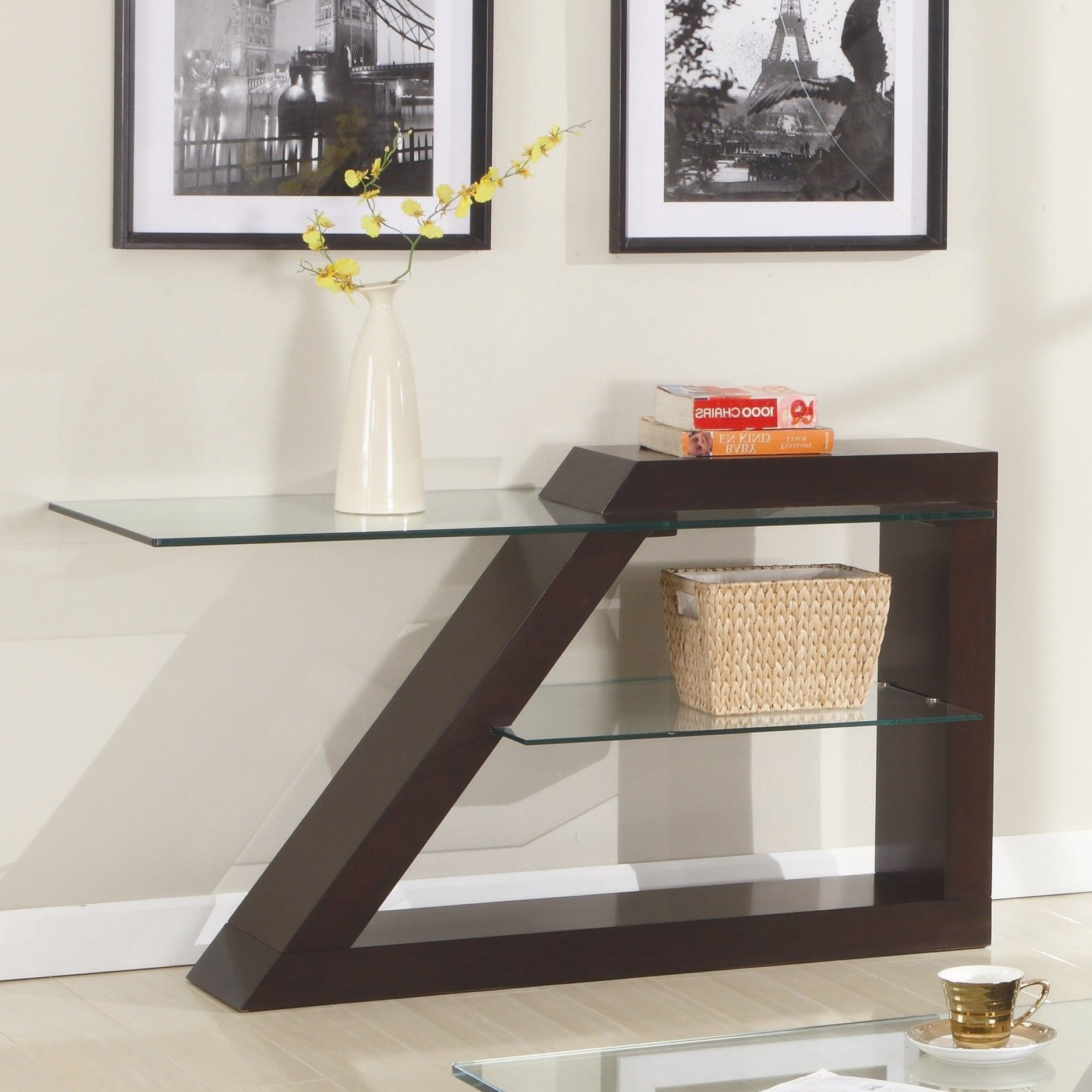 Parsons Clear Glass Top & Elm Base 48X16 Console Tables In Well Known Jensen Console Table (Gallery 12 of 20)