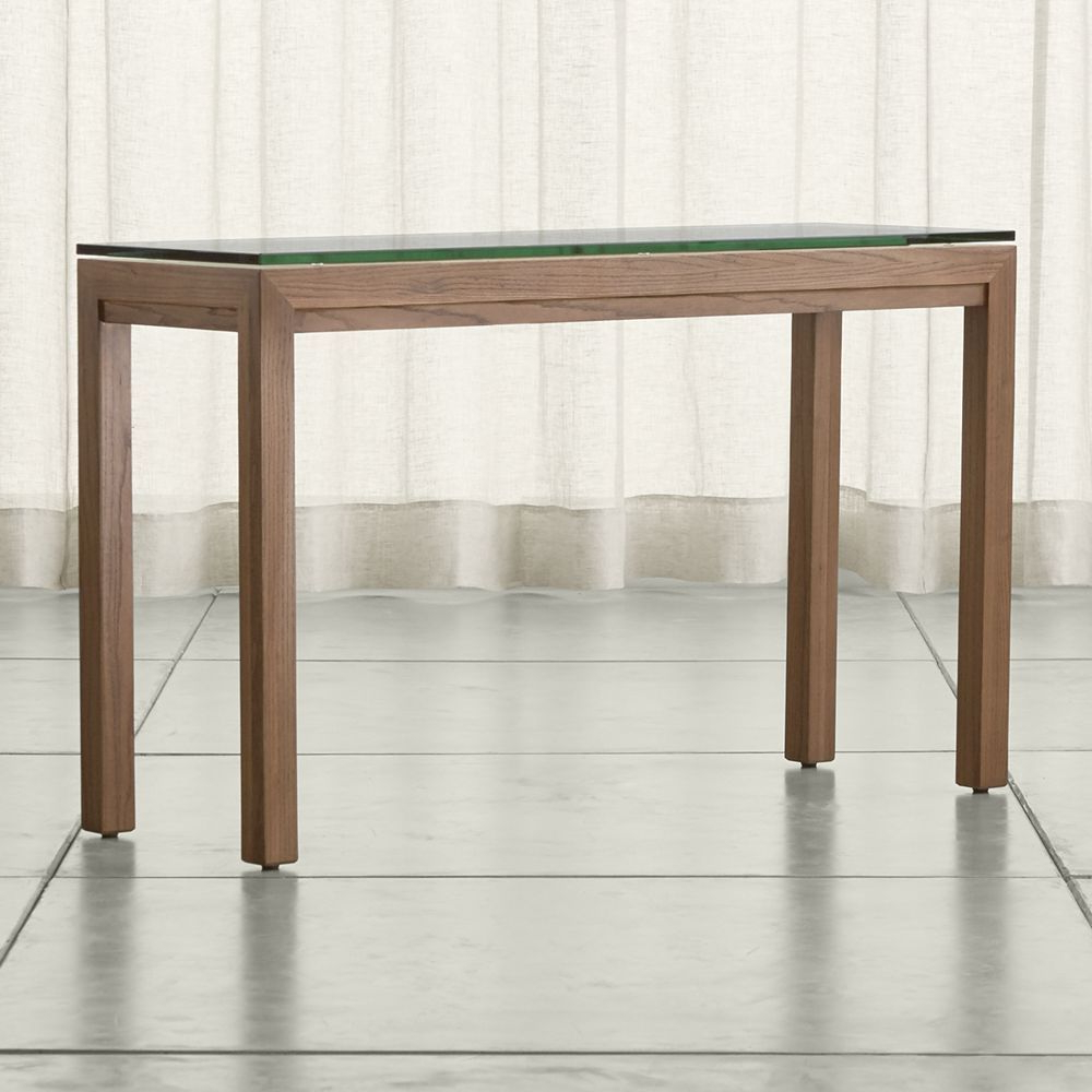 Parsons Clear Glass Top & Elm Base 48X16 Console Tables Regarding Popular Parsons Clear Glass Top/ Elm Base 48X16 Console (Gallery 1 of 20)