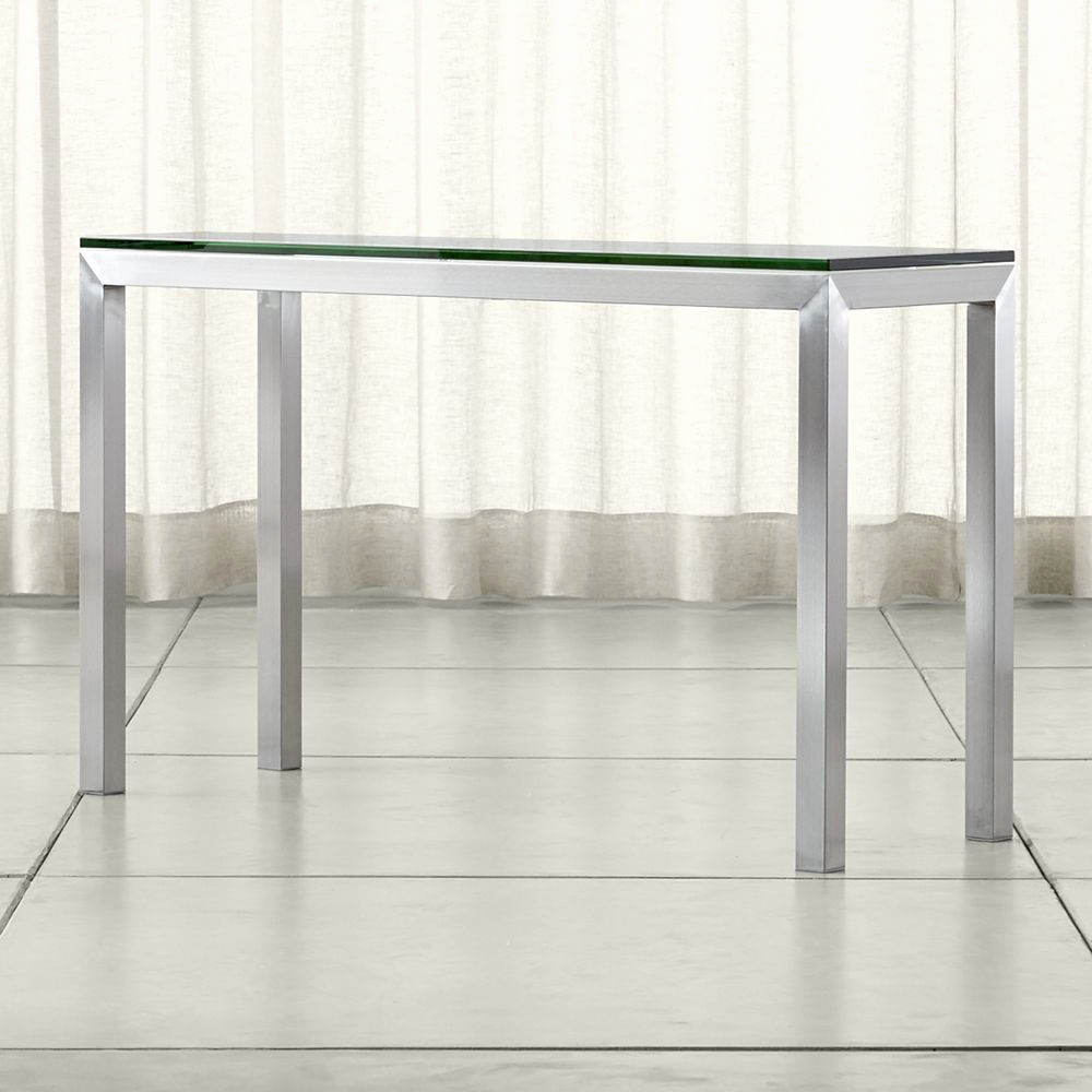 Parsons Clear Glass Top & Stainless Steel Base 48X16 Console Tables Pertaining To Popular Tavolo A Consolle Fresco Parsons Clear Glass Top Stainless Steel (View 13 of 20)