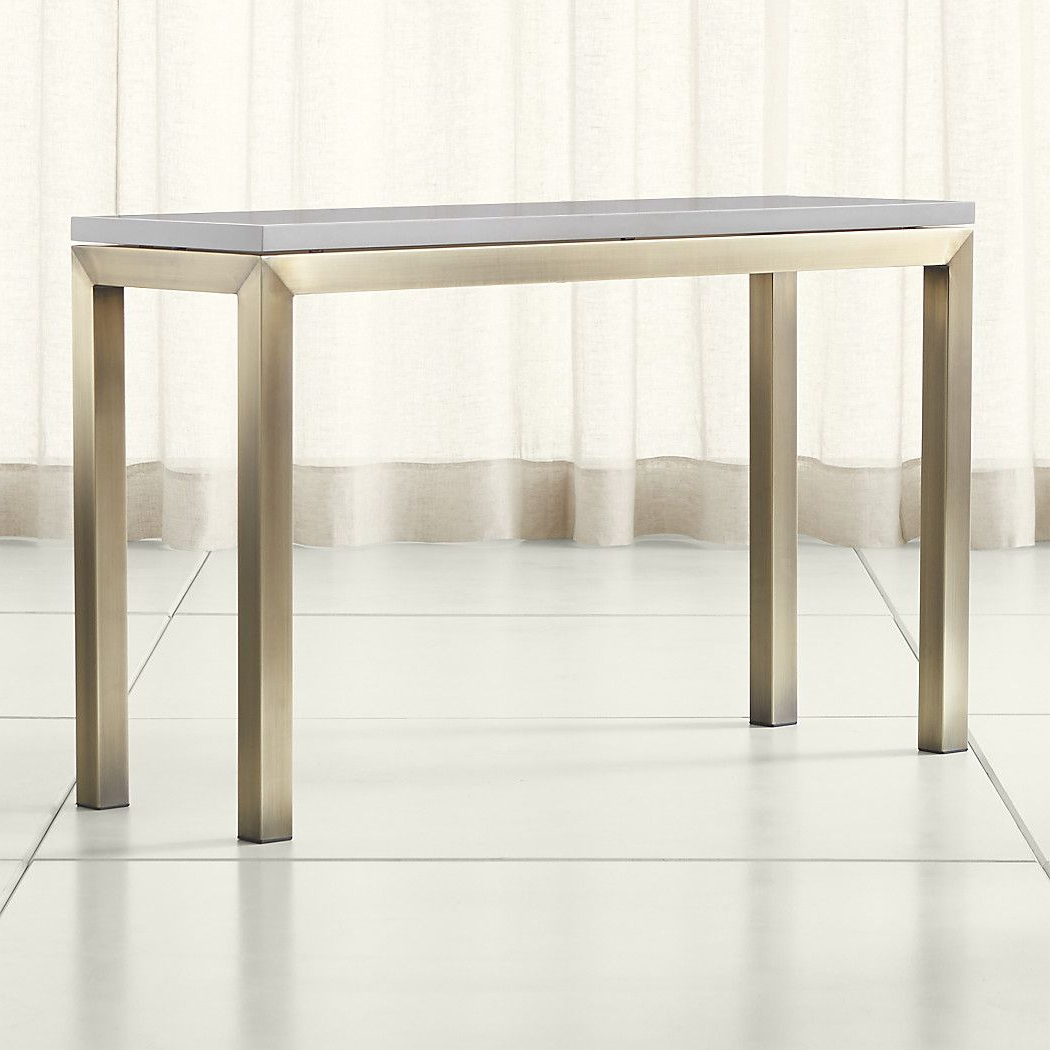 Parsons Grey Solid Surface Top/ Brass Base 48X16 Console For Popular Parsons Grey Marble Top & Dark Steel Base 48X16 Console Tables (View 10 of 20)