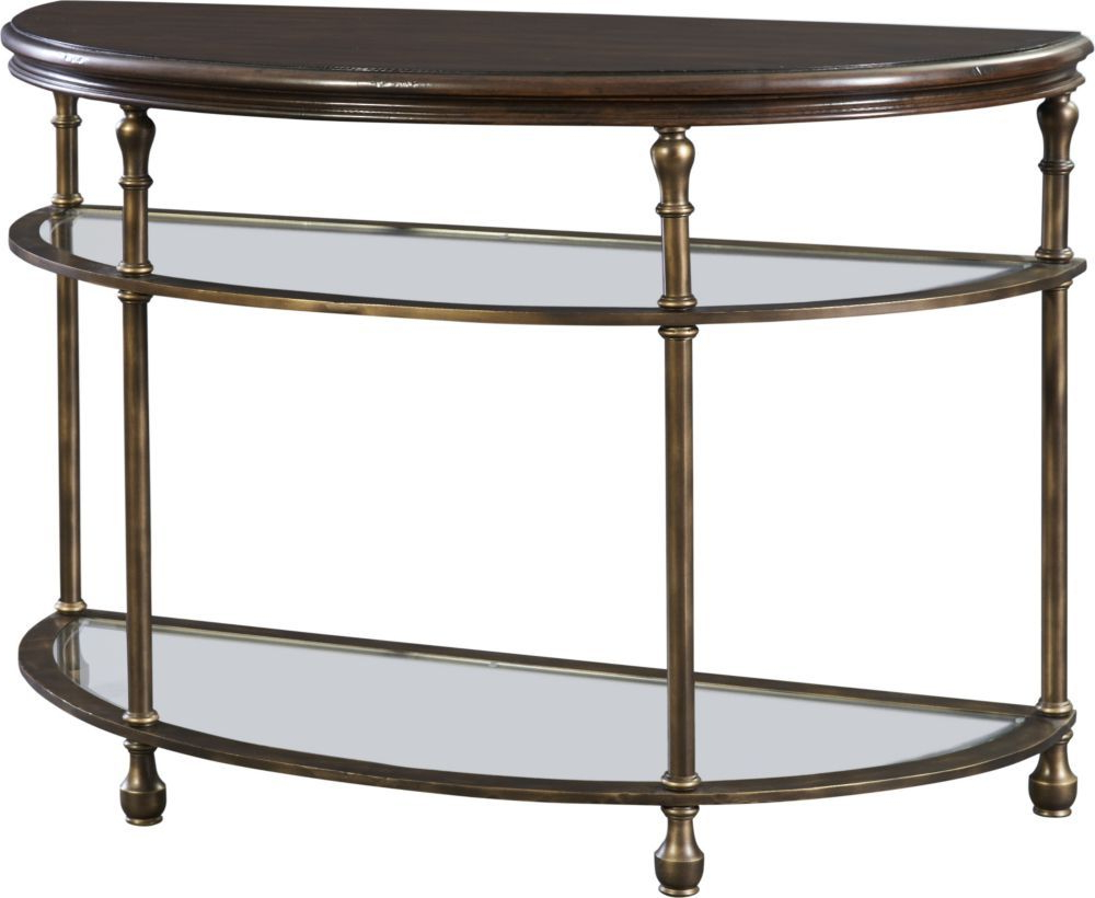 Parsons Grey Solid Surface Top & Brass Base 48X16 Console Tables Pertaining To Best And Newest Metal Accent Demi Lune Find Out About This And Other Well Crafted (Gallery 14 of 20)