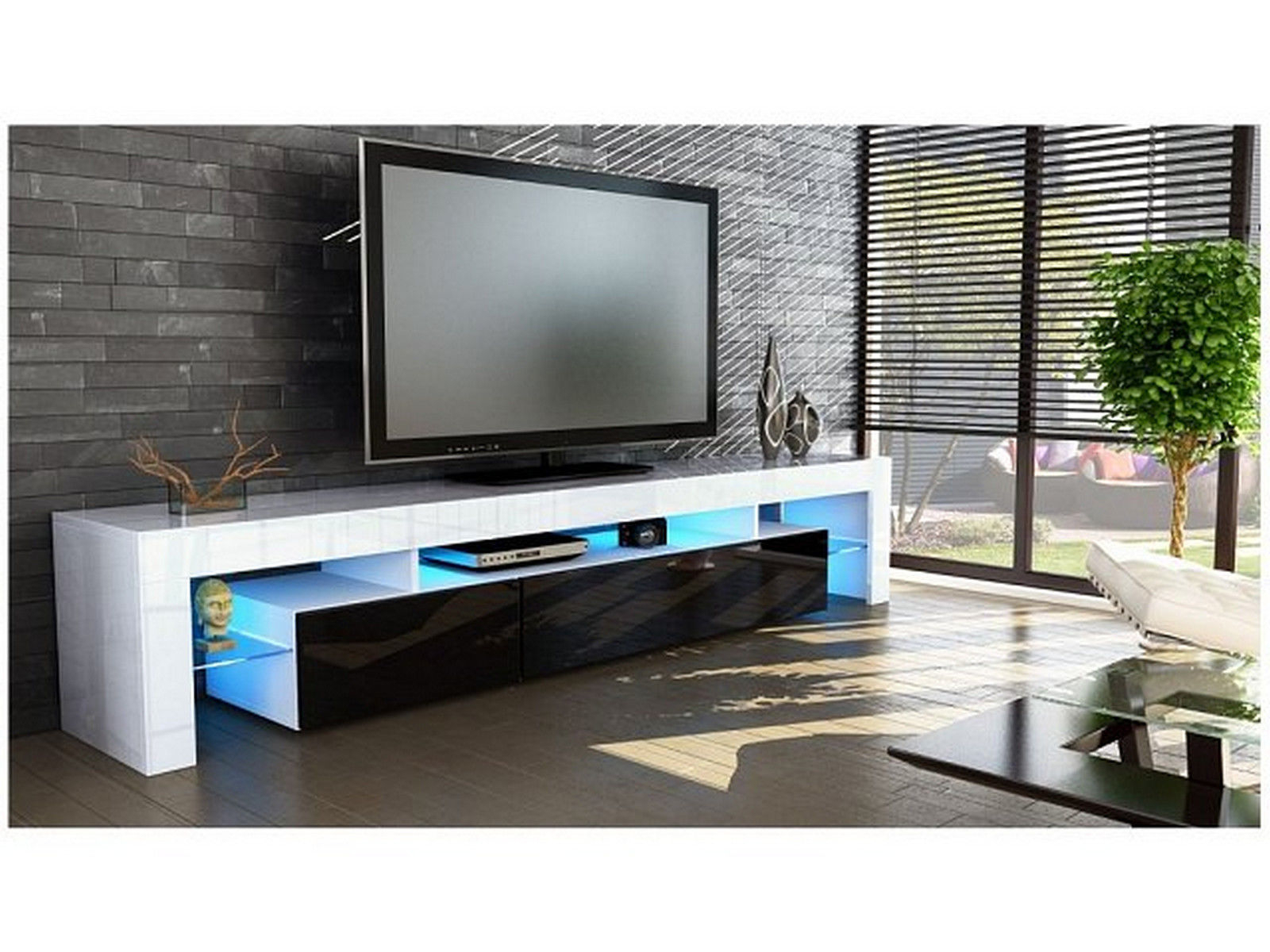 Peru Entertainment Tv Unit High Gloss – White Or Black – Cabinets Within Popular Black Gloss Tv Cabinets (View 13 of 20)