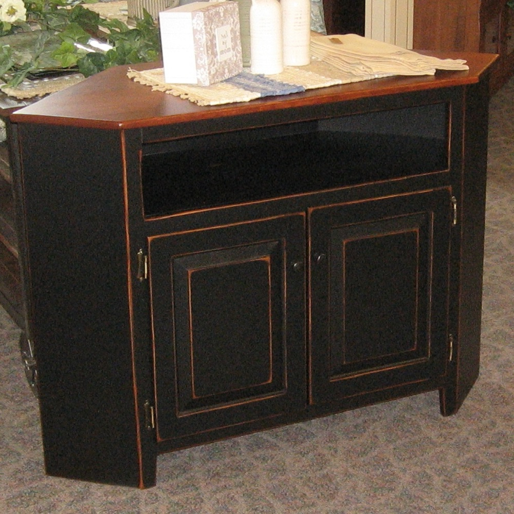 Pine Corner Tv Stands For Well Known Corner Tv Stand, Shown In Pine With A Two Tone Finish – Amish Oak (View 13 of 20)